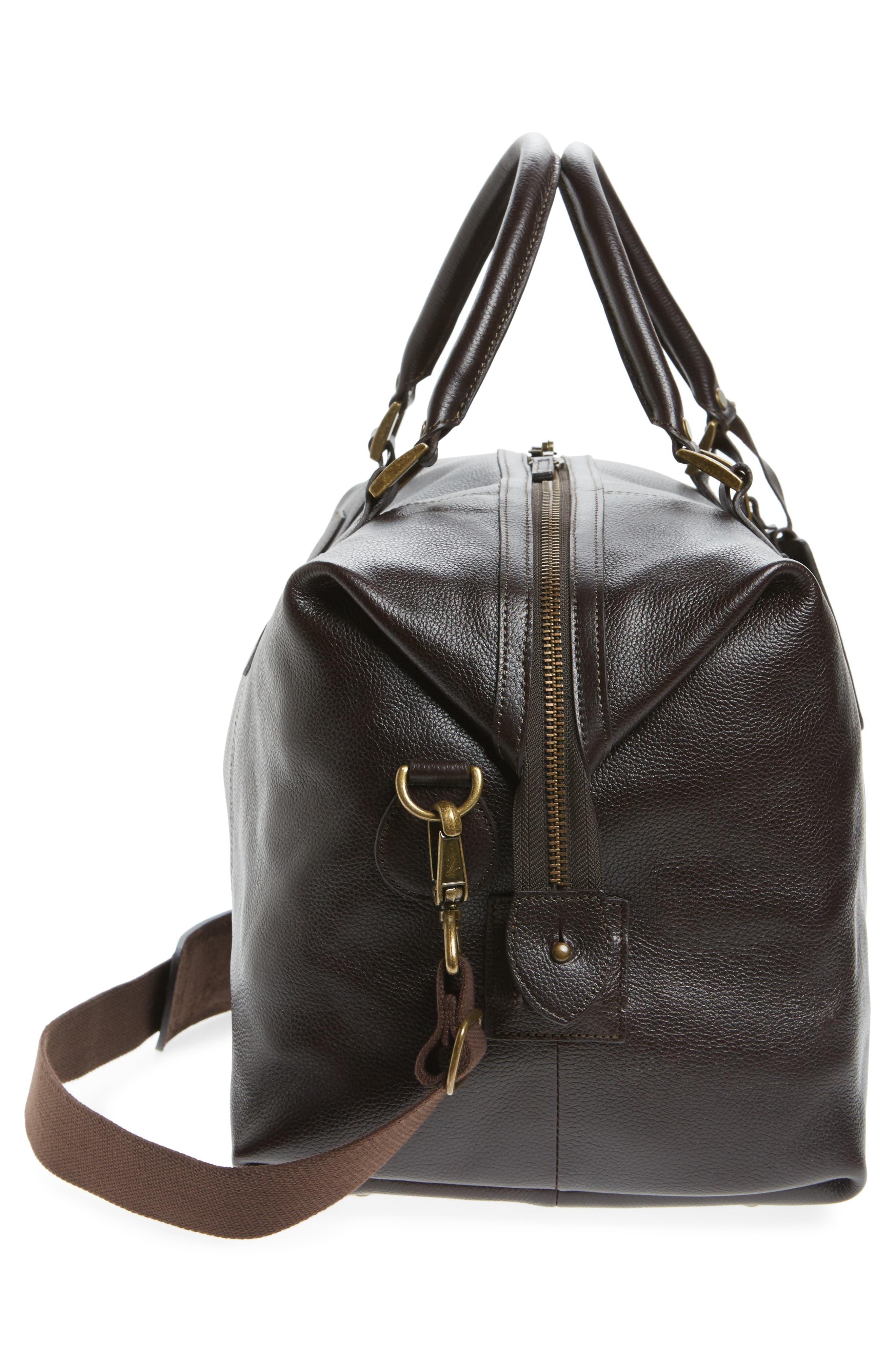 Leather Travel Bag,                             Alternate thumbnail 5, color,                             Chocolate