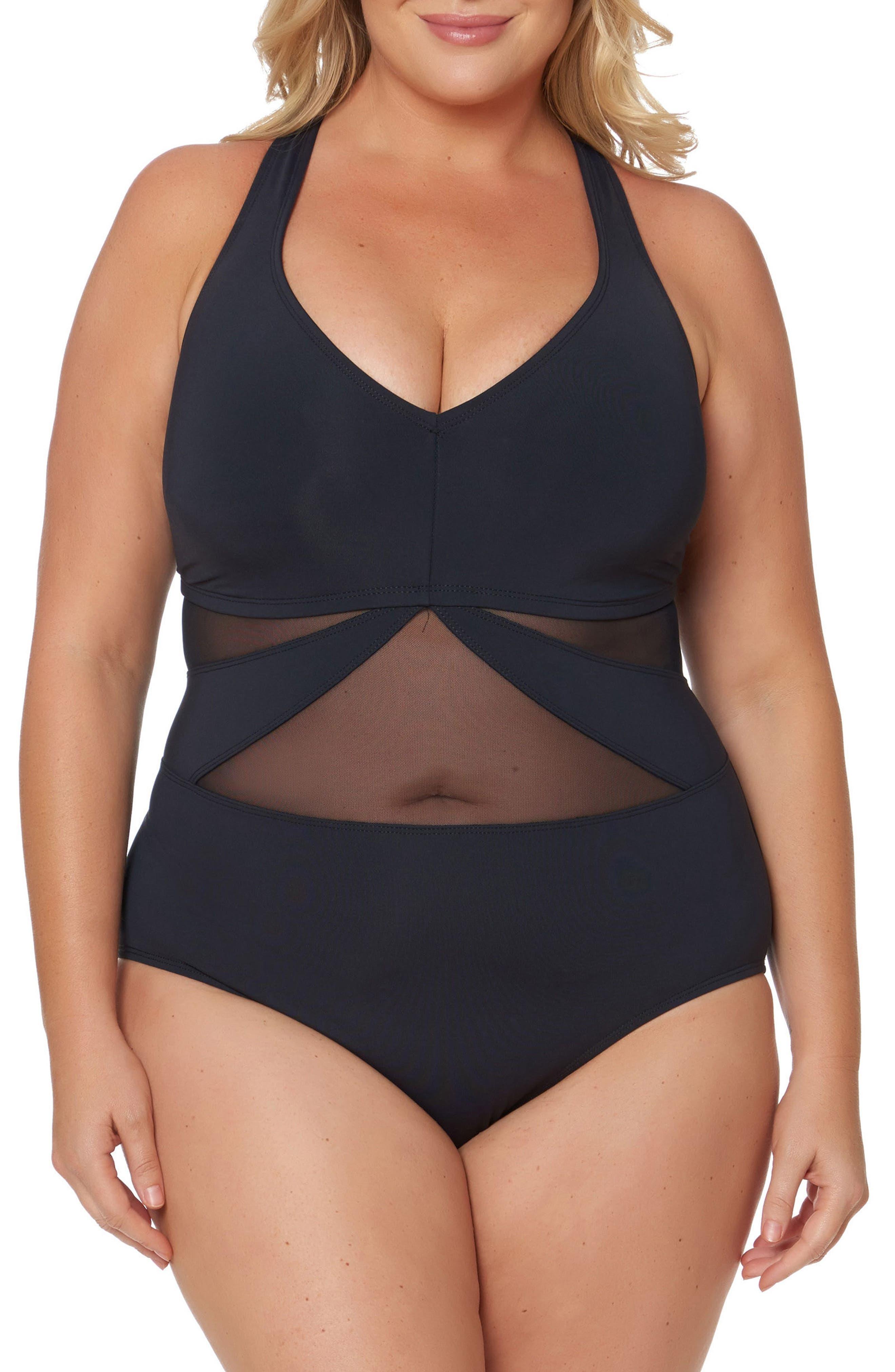Main Image - Bleu by Rob Beattie Mesh One-Piece Swimsuit (Plus Size)