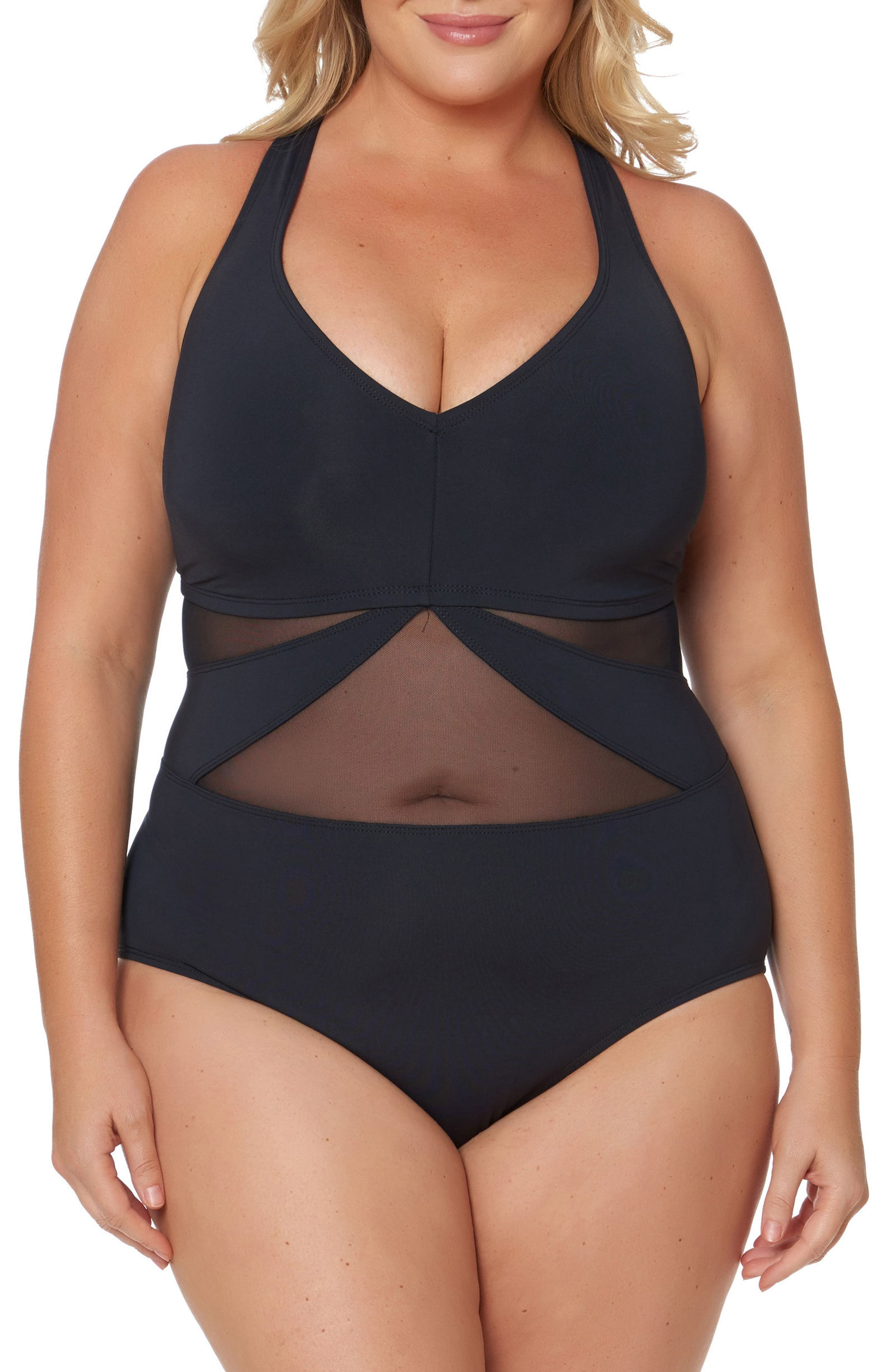 Bleu by Rob Beattie Mesh One-Piece Swimsuit,                         Main,                         color, Black