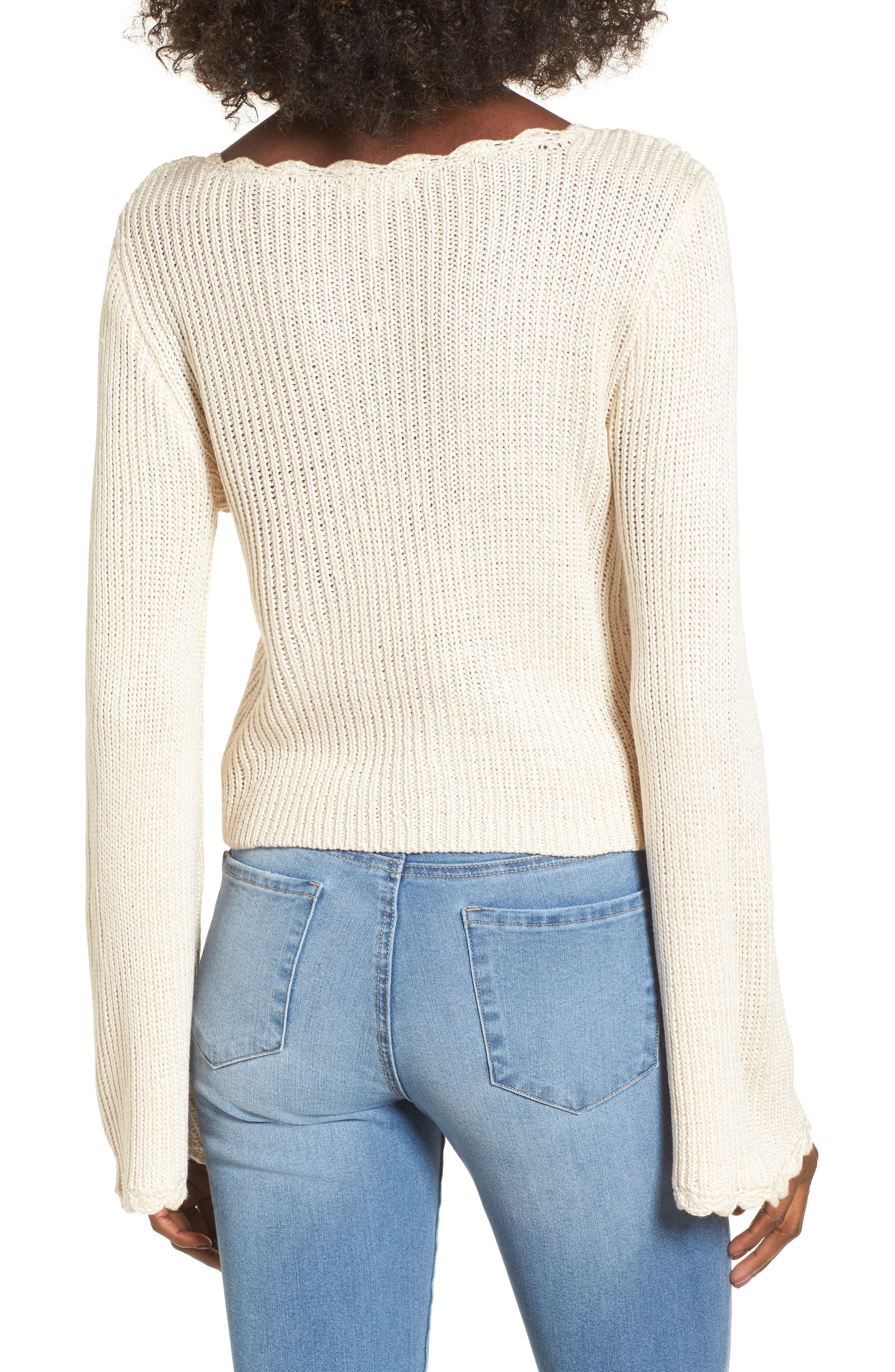 Scallop Edge Sweater,                             Alternate thumbnail 2, color,                             Ivory