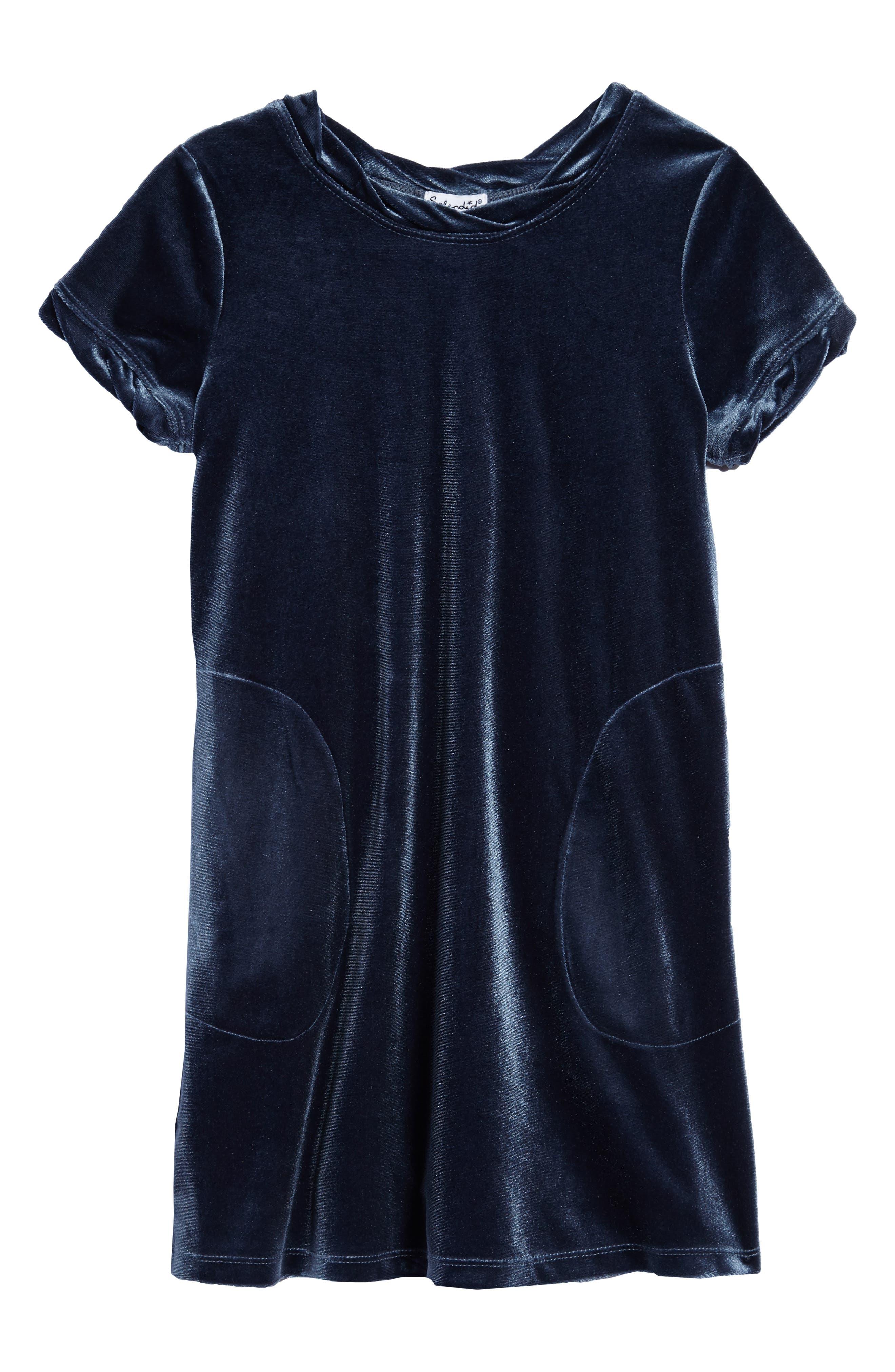 Velour Shift Dress,                         Main,                         color, Blue