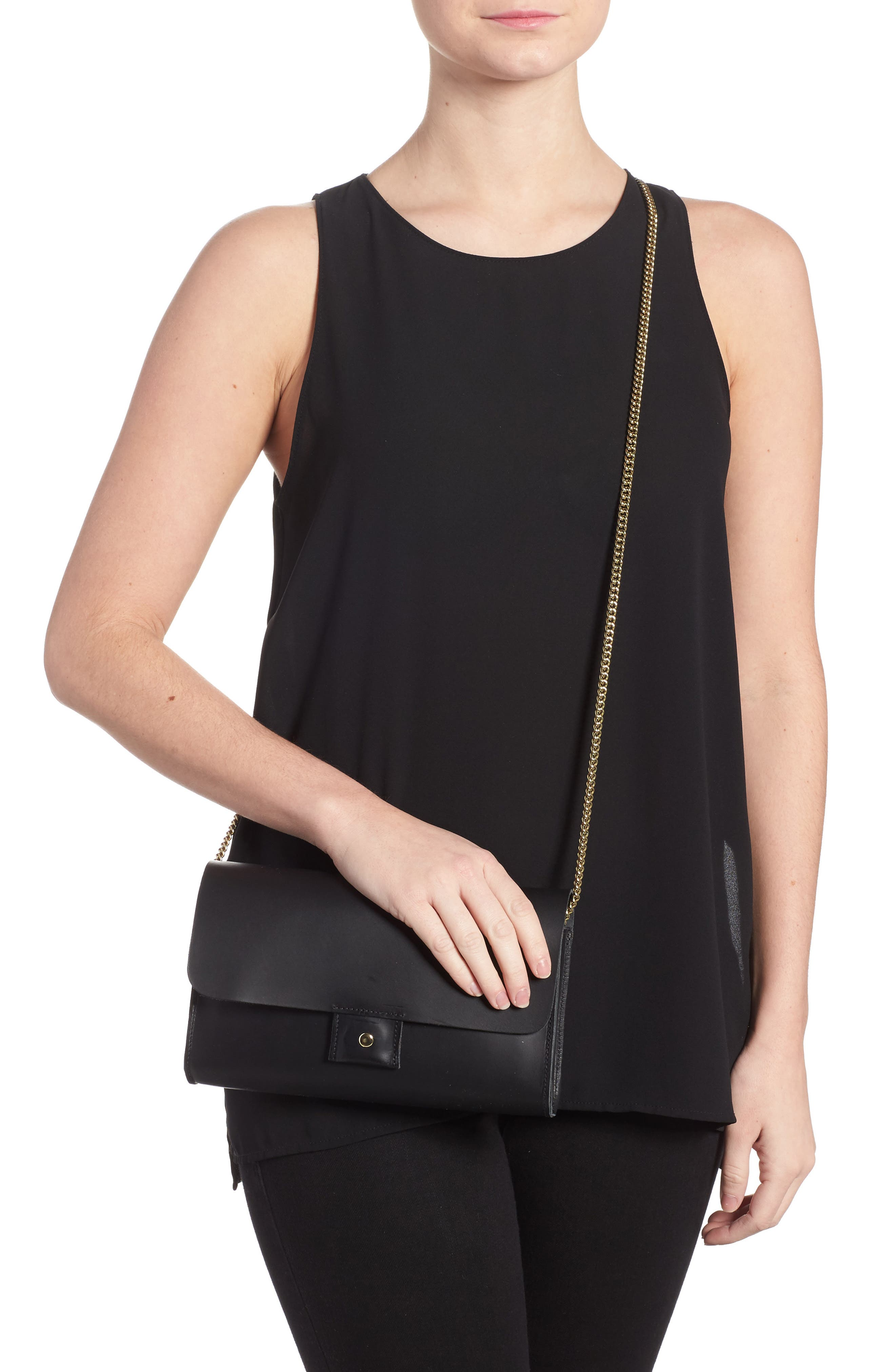 Colette Maison Leather Shoulder Bag,                             Alternate thumbnail 2, color,                             Black Veg