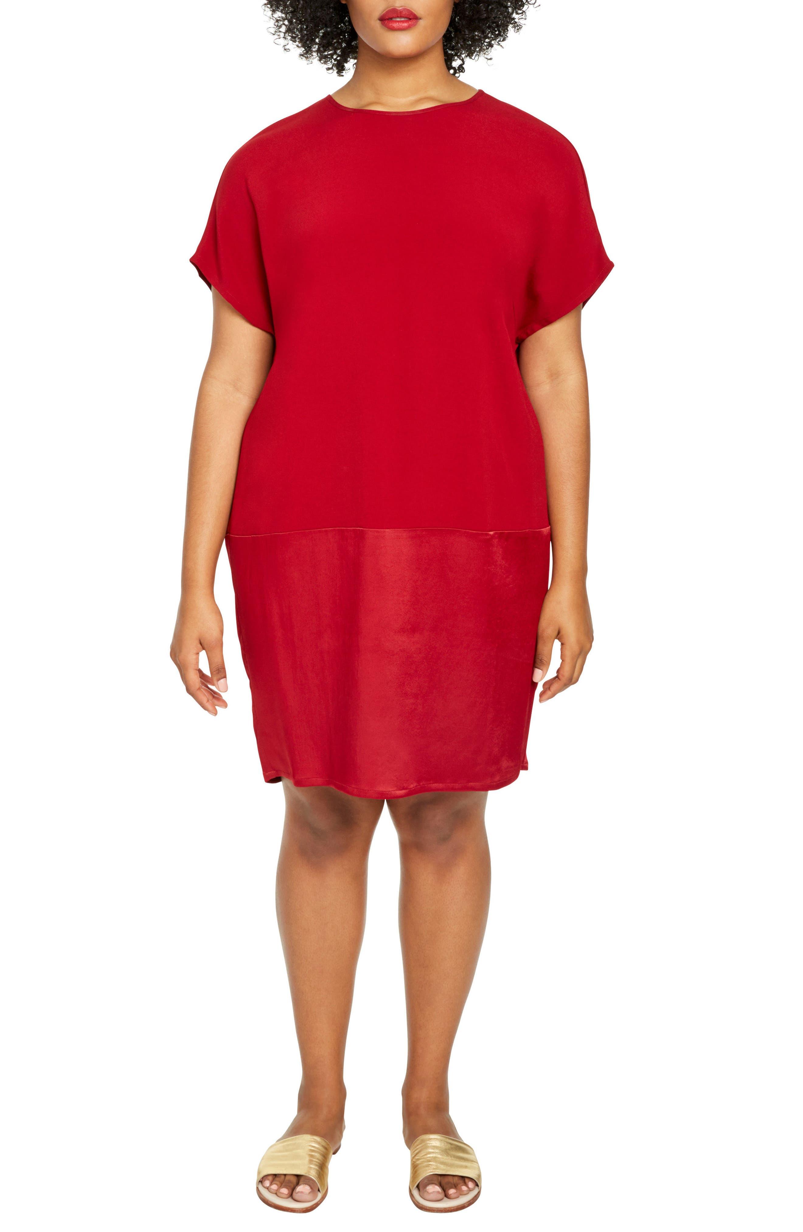 Avenir Drop Waist Dress,                         Main,                         color, Red Dahlia
