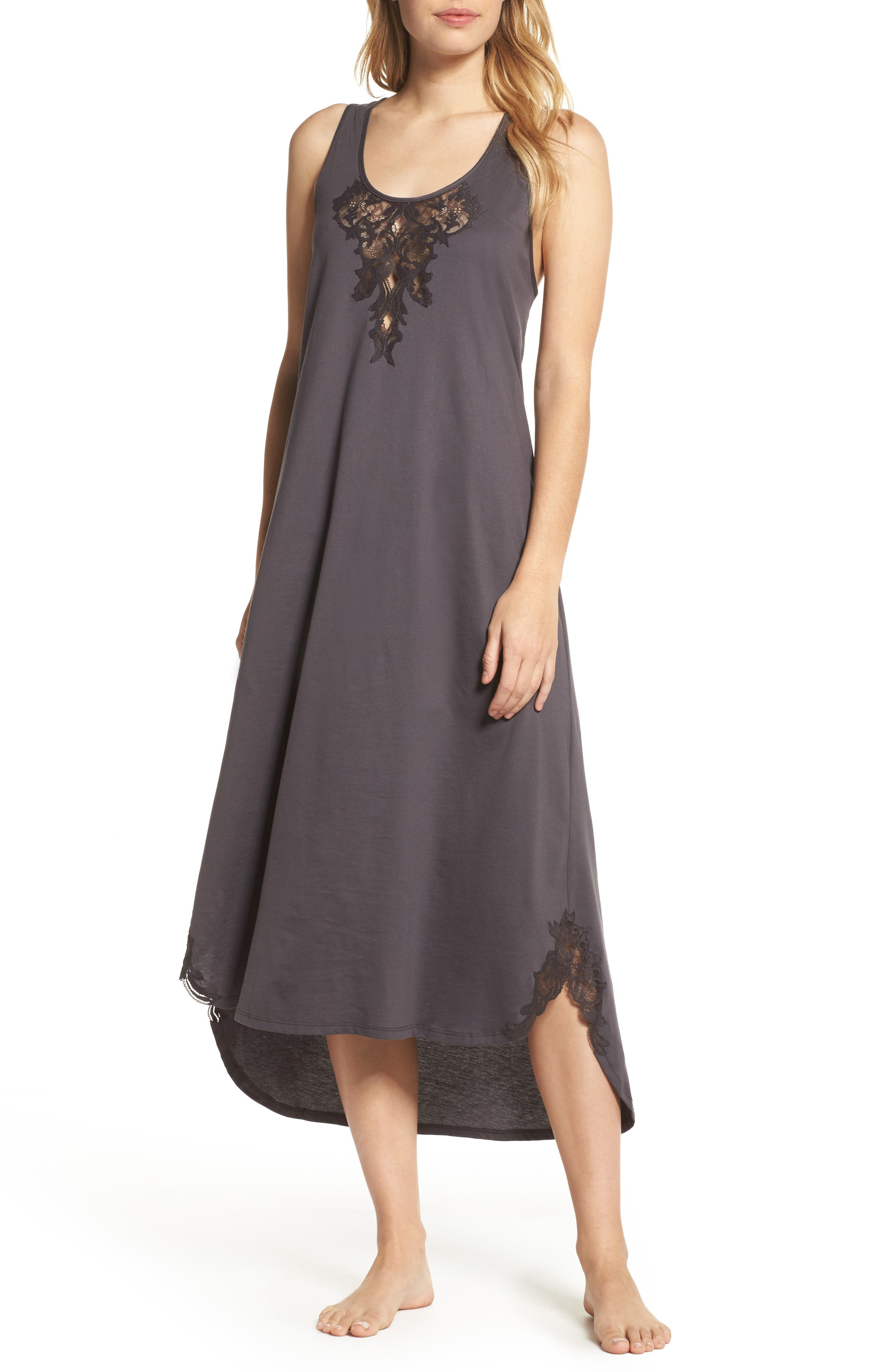 Bliss Supima<sup>®</sup> Cotton Nightgown,                             Main thumbnail 1, color,                             Graphite