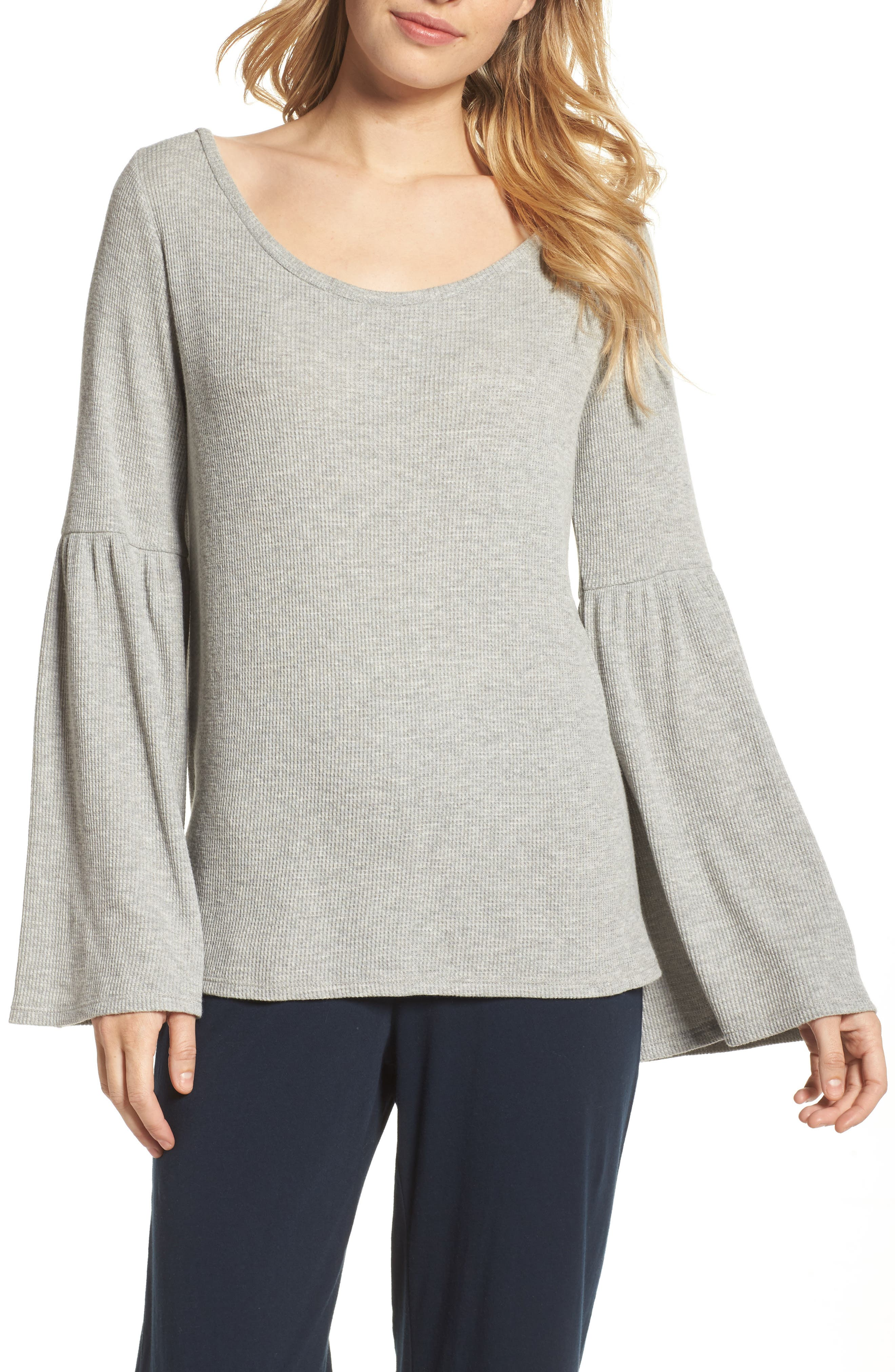 Imo Thermal Knit Tee,                         Main,                         color, Heather Grey