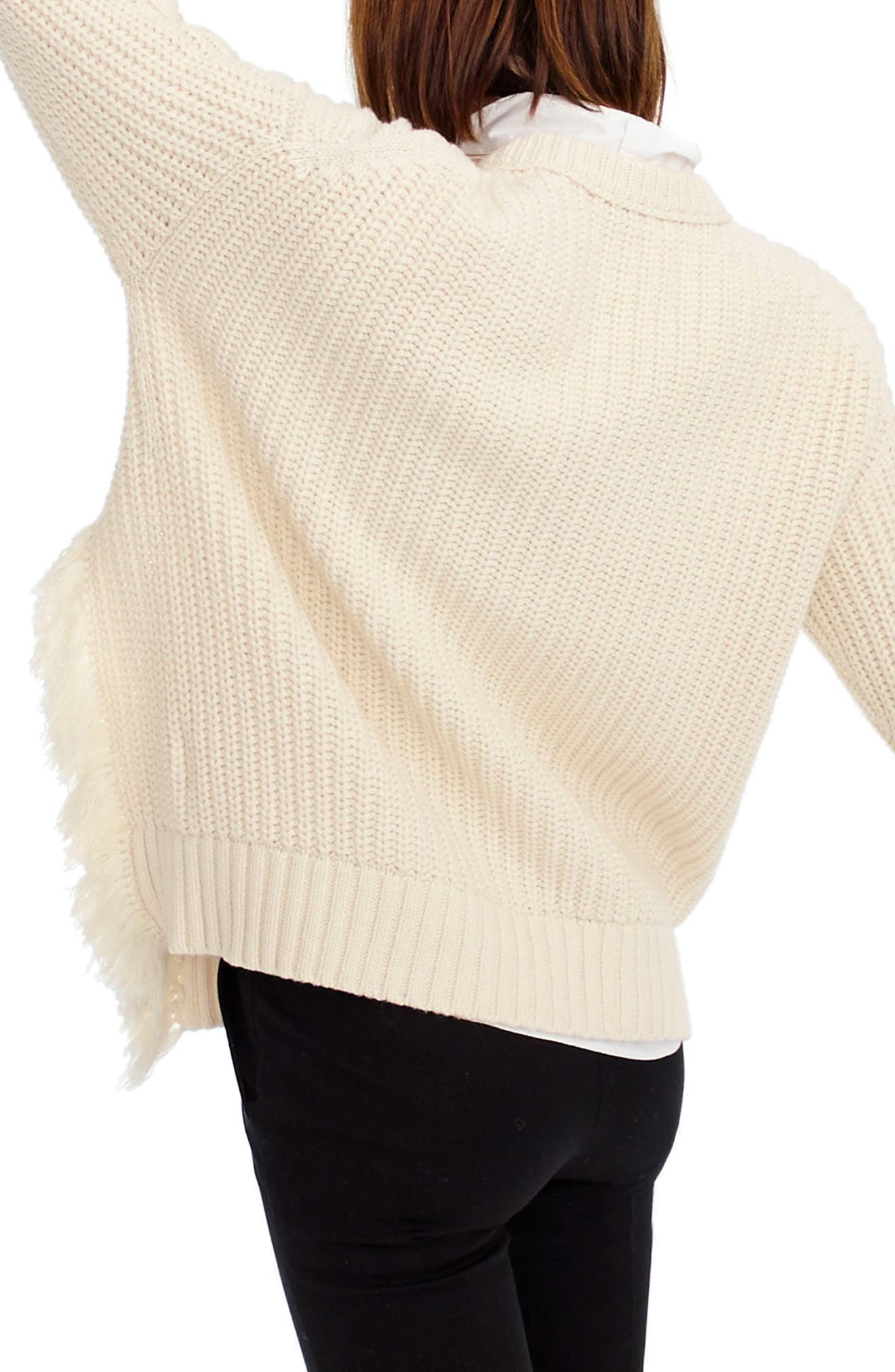J.Crew Fringe Detail Cable Knit Sweater,                             Alternate thumbnail 2, color,                             Ivory