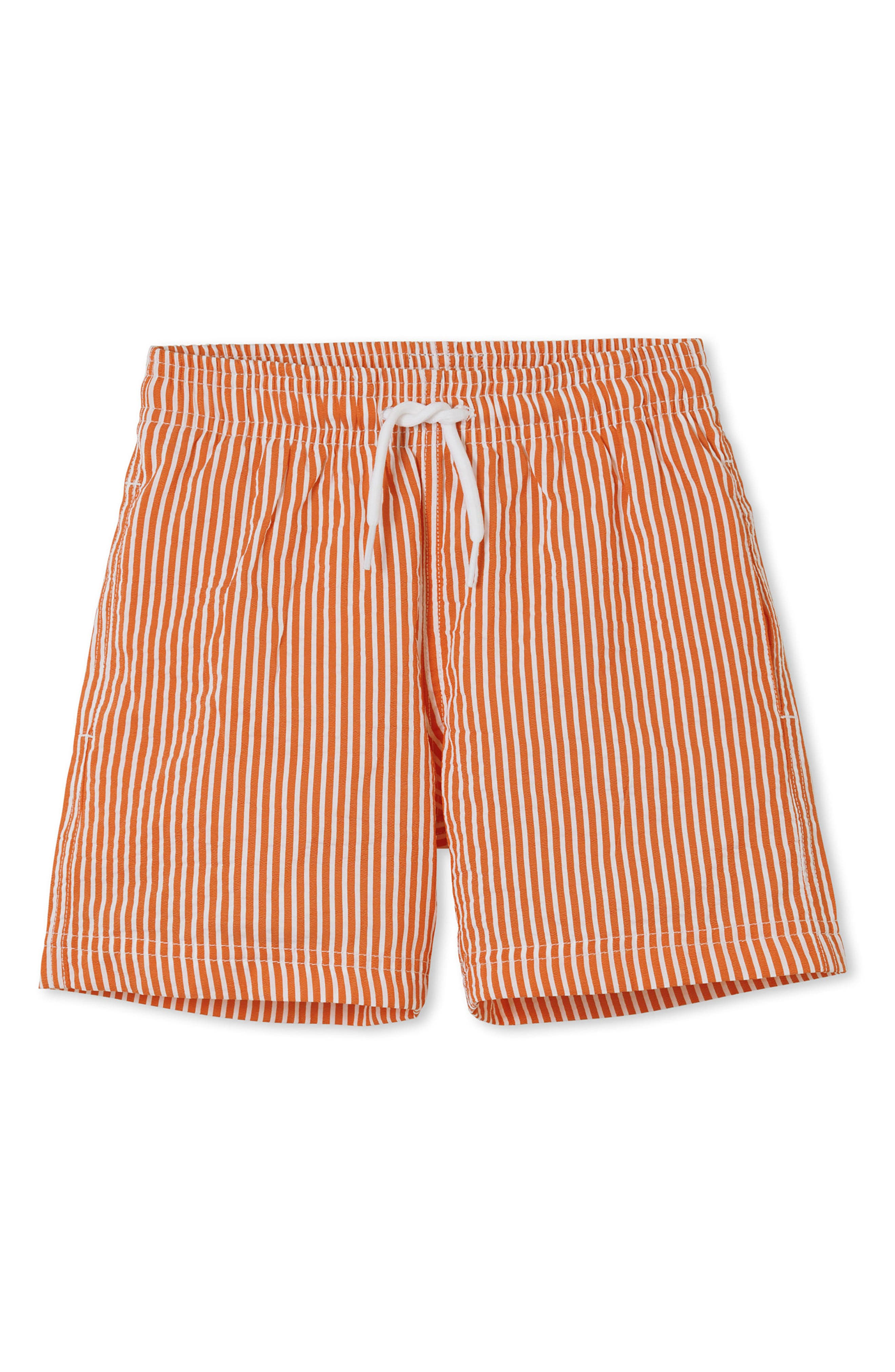 Orange Stripe Swim Trunks,                         Main,                         color, Orange