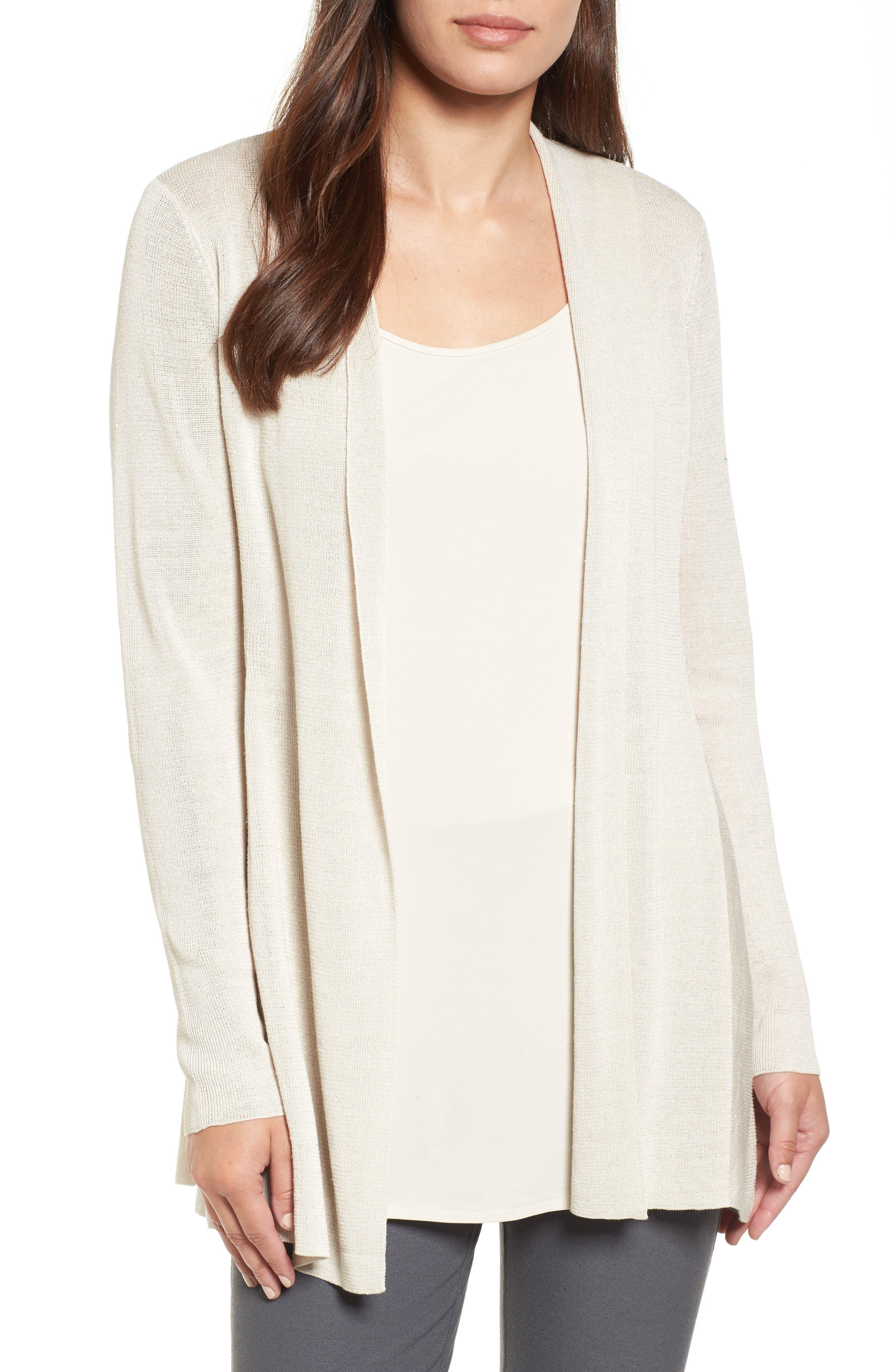 Fine Organic Linen Blend Cardigan,                         Main,                         color, Bone