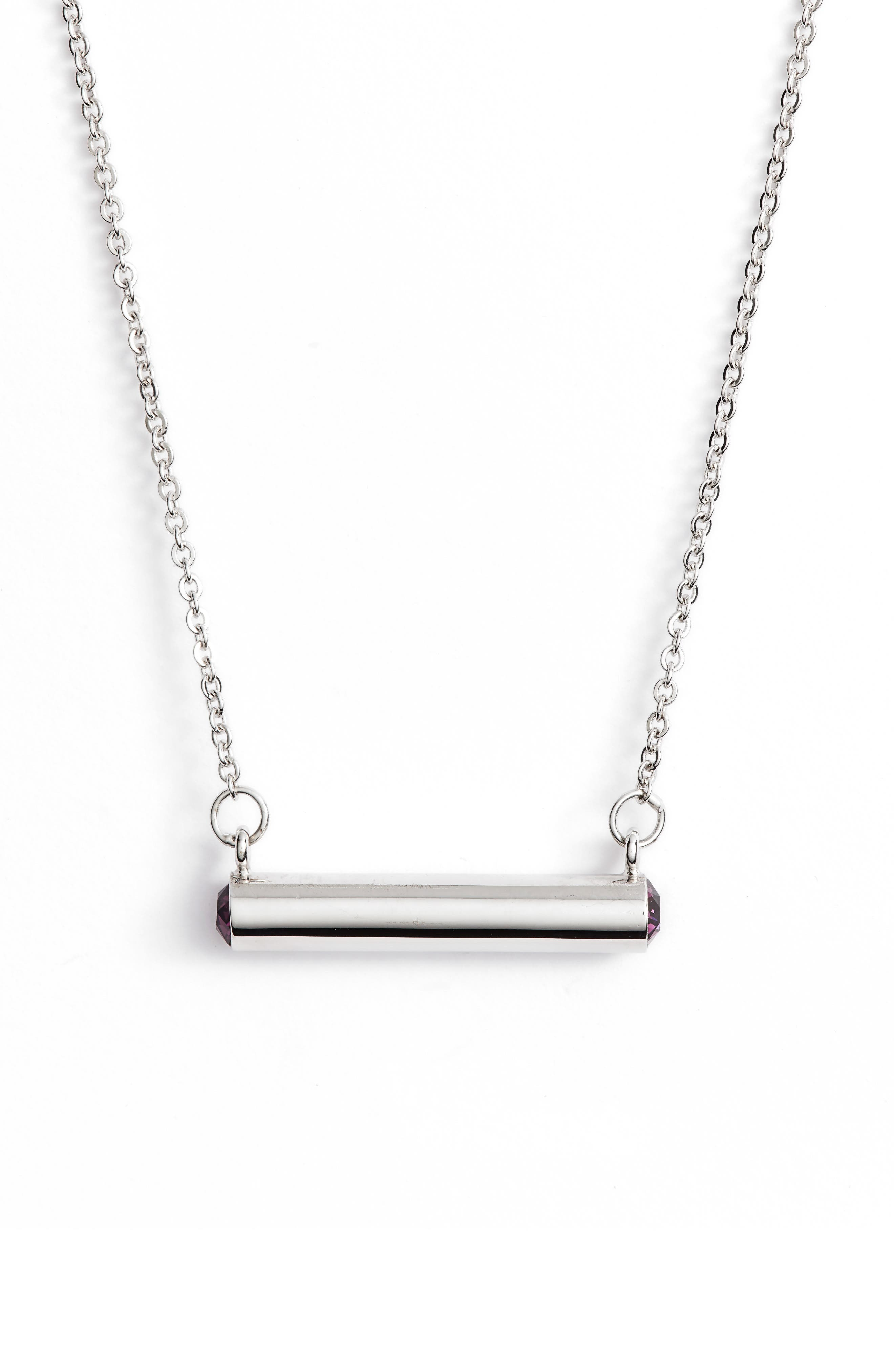 February Crystal Bar Pendant Necklace,                         Main,                         color, Silver