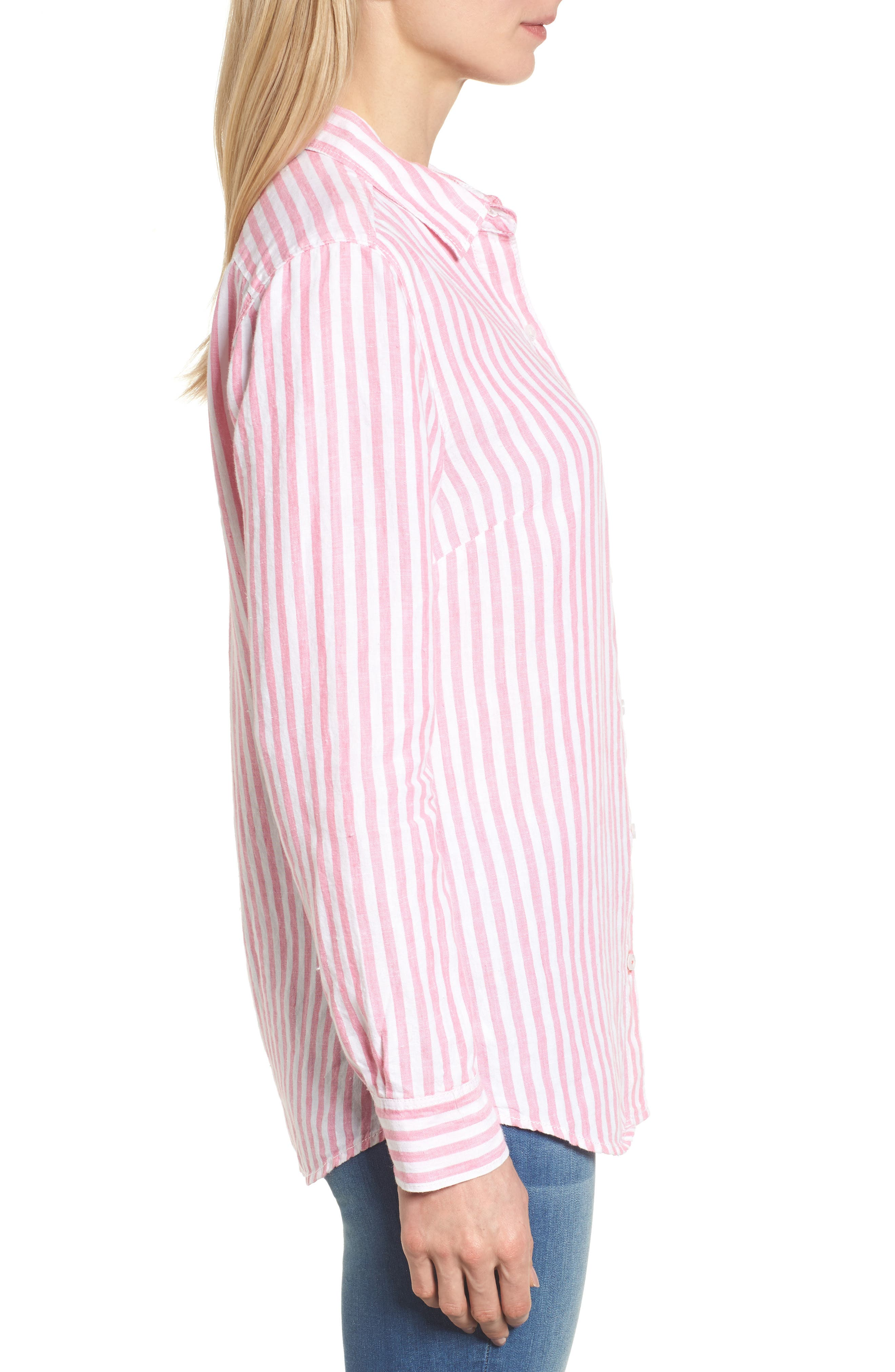 Cabana Stripe Button-Up Top,                             Alternate thumbnail 3, color,                             Soft Flamingo