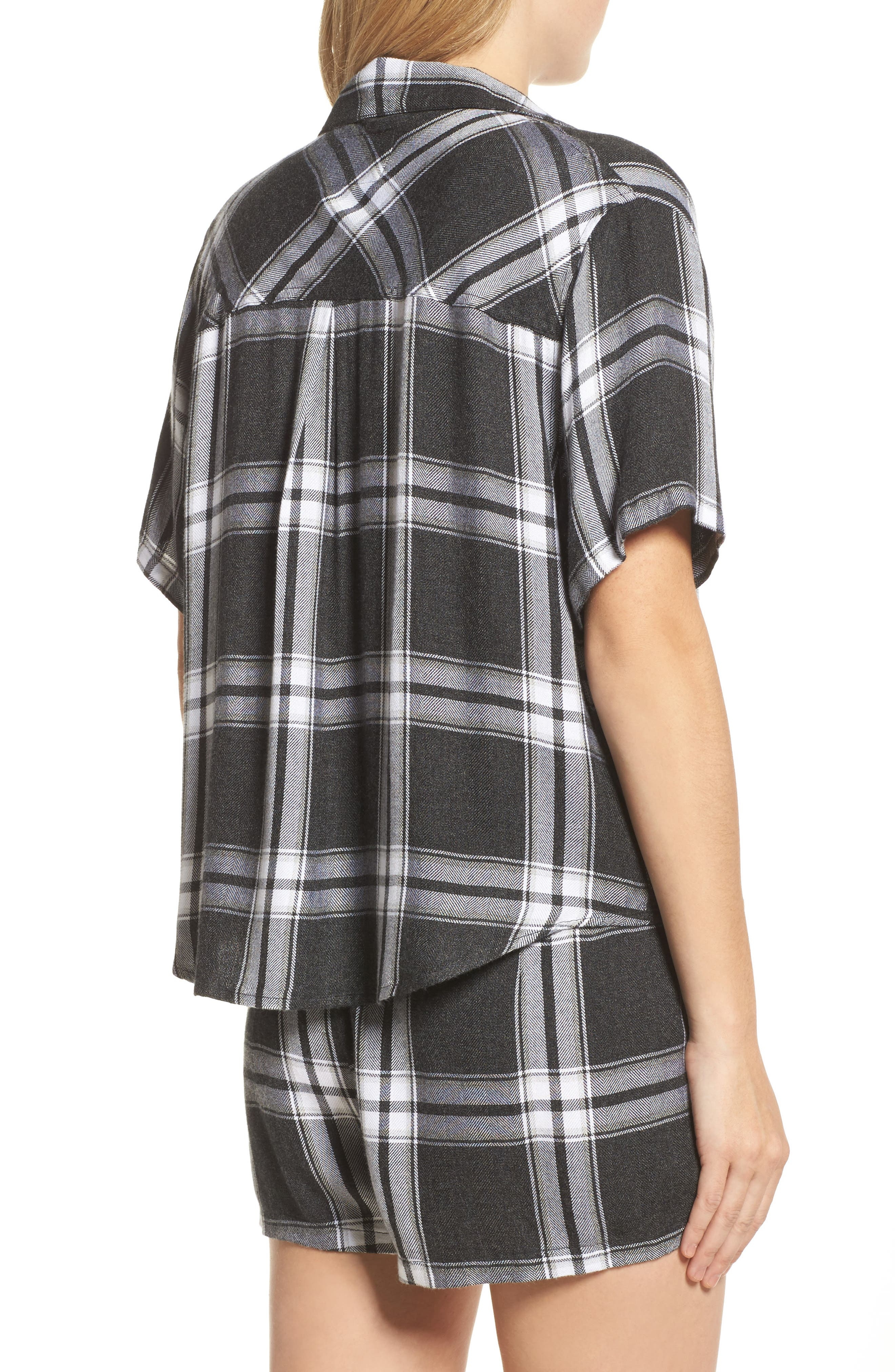Plaid Short Pajamas,                             Alternate thumbnail 2, color,                             Ash/ Bone