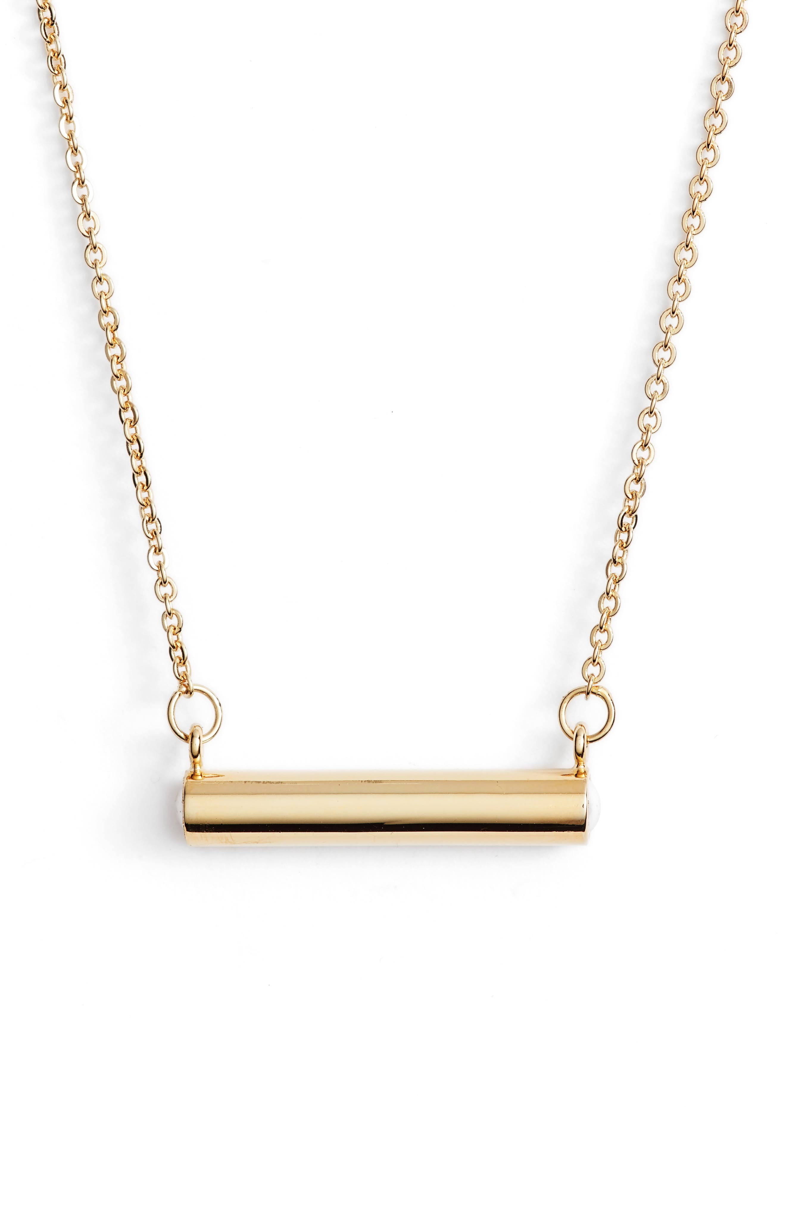 June Imitation Pearl Bar Pendant Necklace,                             Main thumbnail 1, color,                             Gold