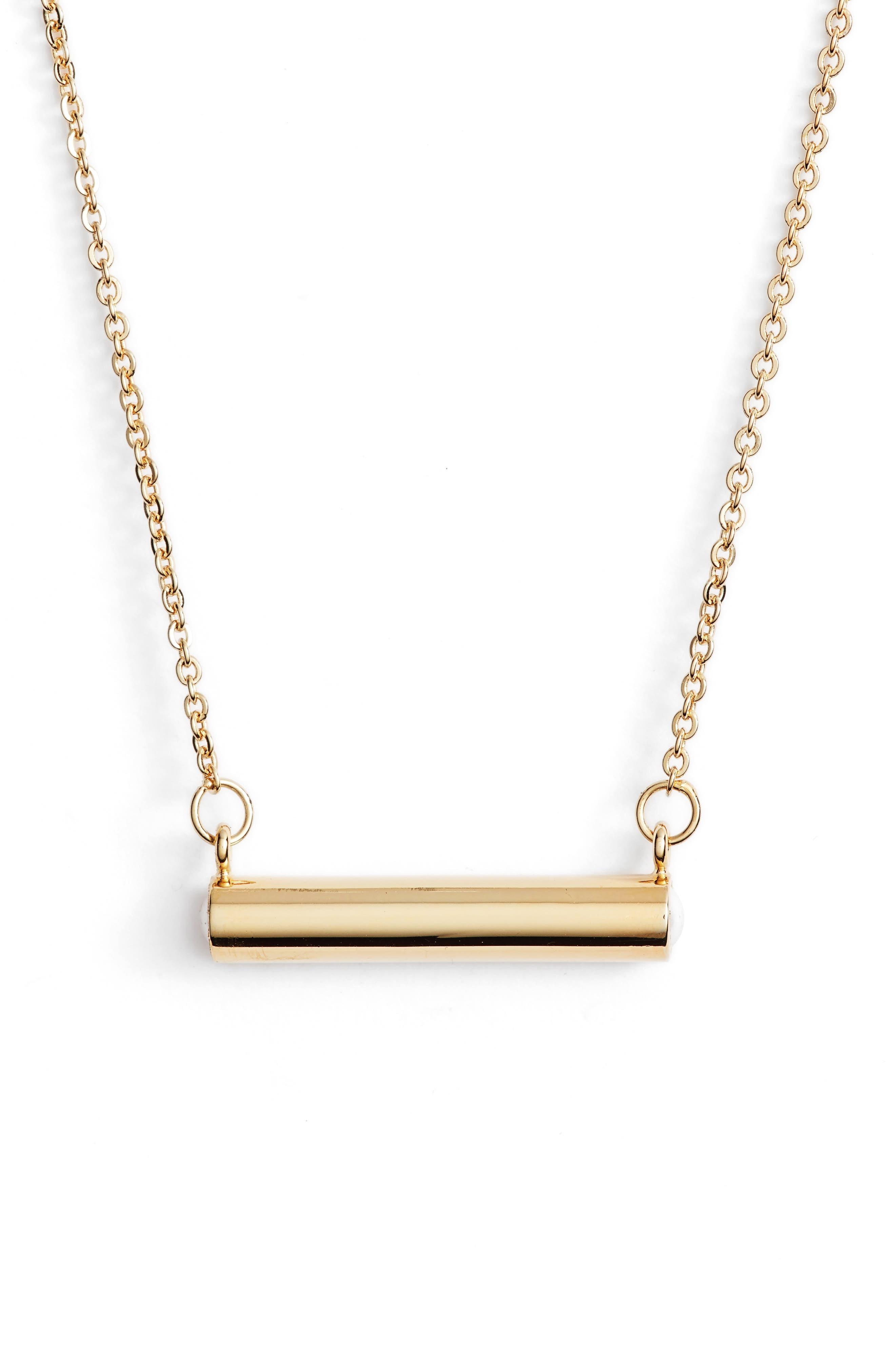 June Imitation Pearl Bar Pendant Necklace,                         Main,                         color, Gold