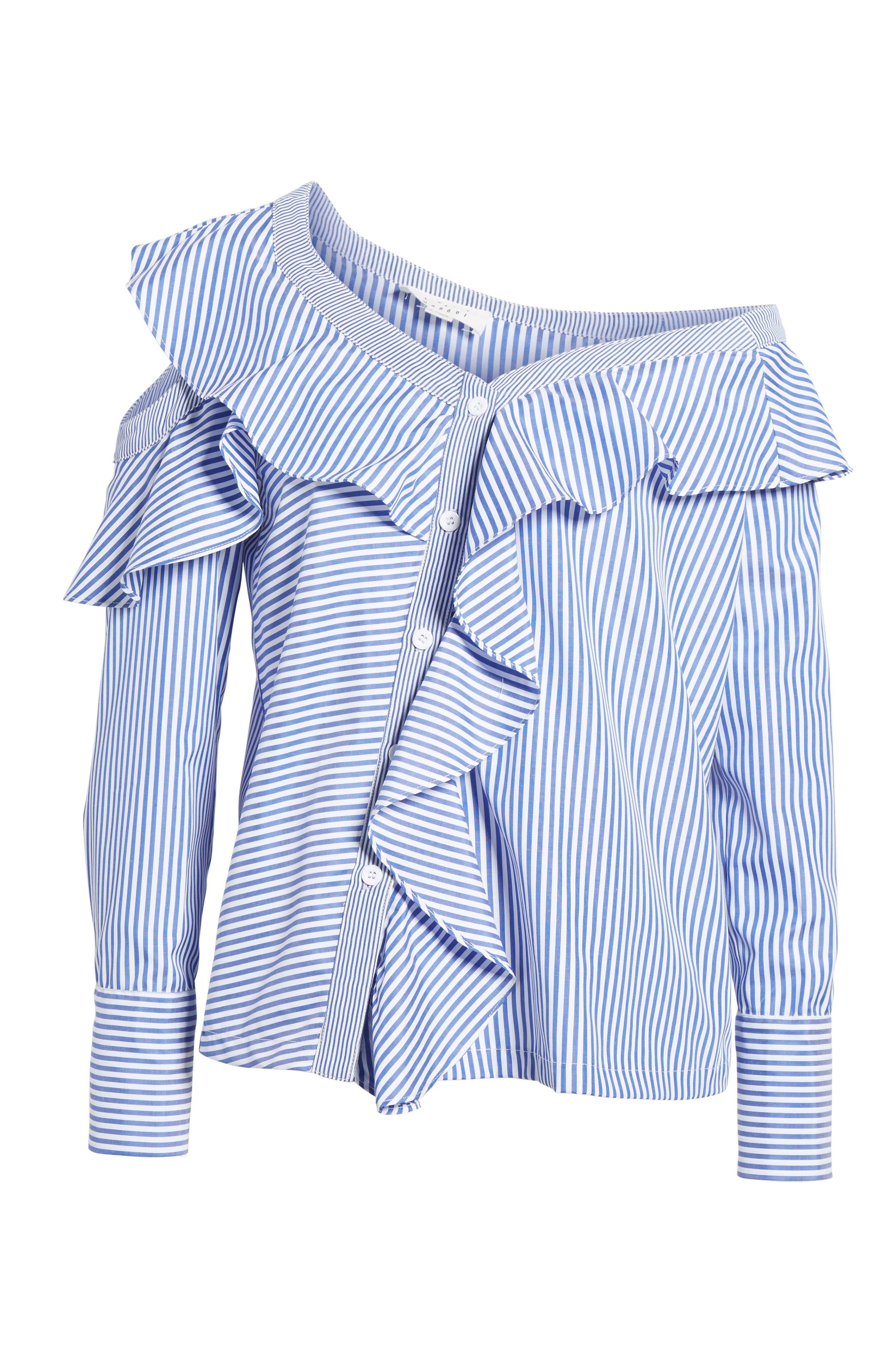 Asymmetrical Open Shoulder Ruffle Top,                             Alternate thumbnail 6, color,                             Blue/ White Stripe