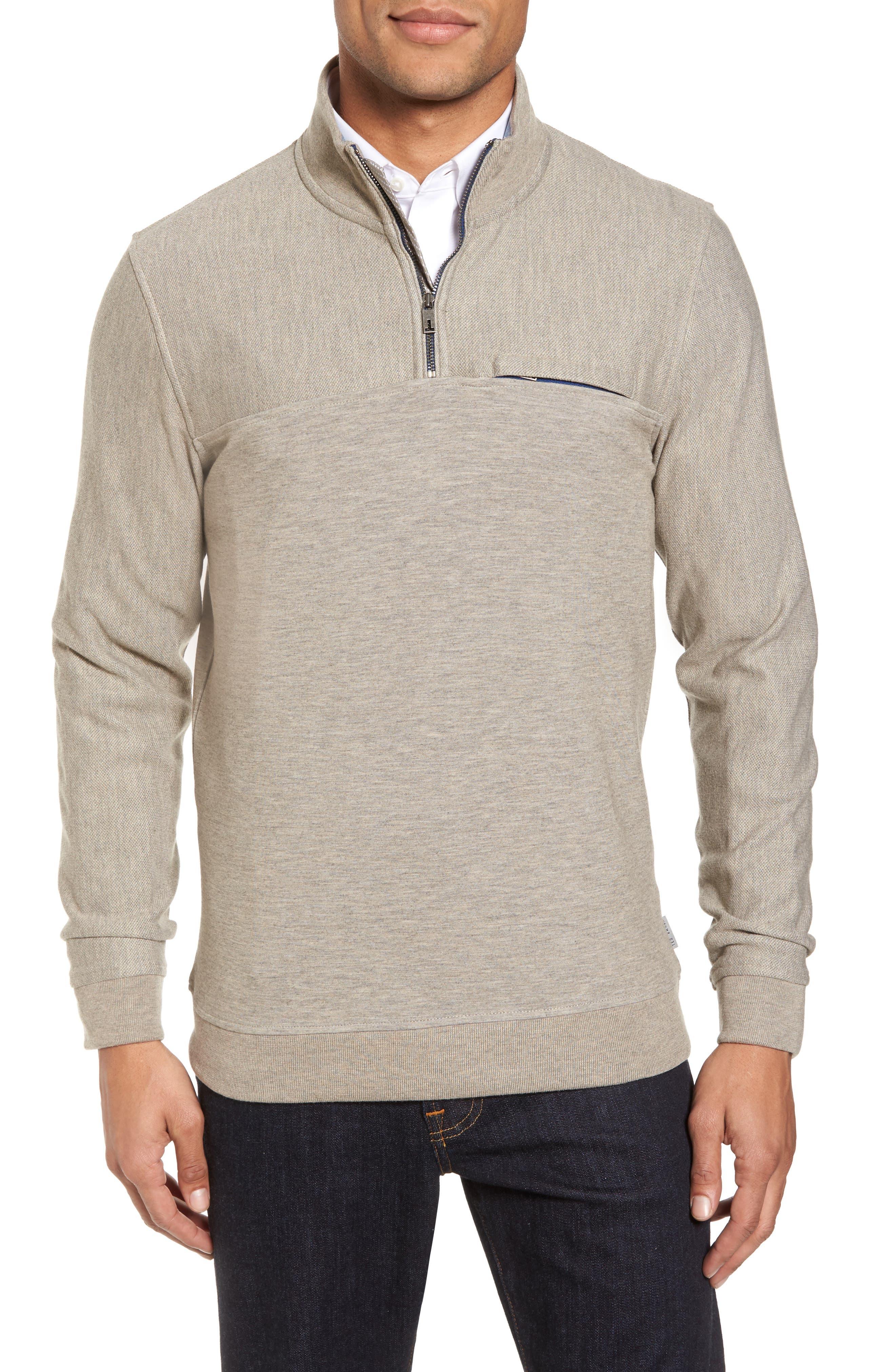 Ted Baker London Livstay Slim Fit Quarter Zip Pullover
