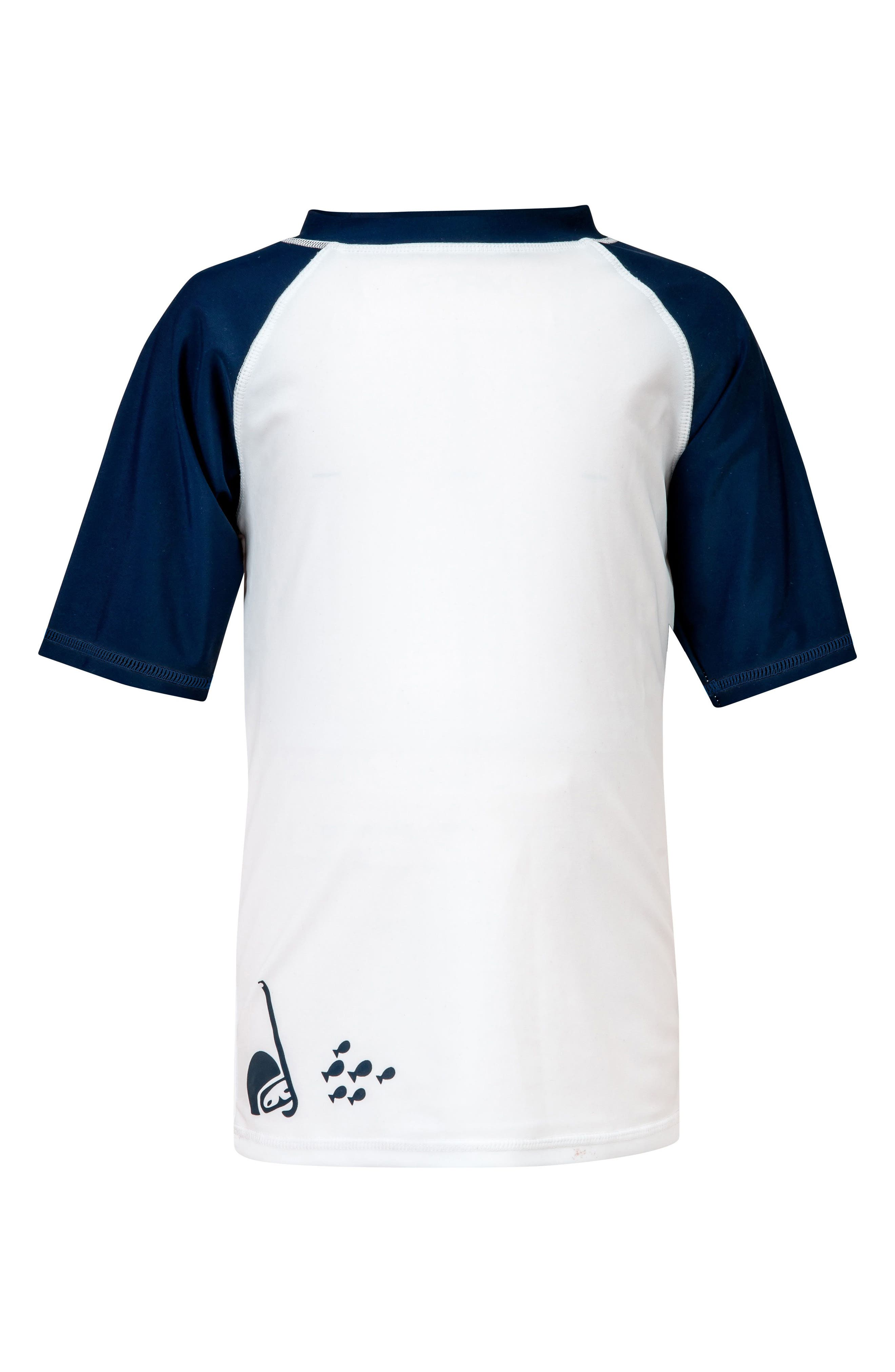 Ocean Explorer Short Sleeve Rashguard,                             Main thumbnail 1, color,                             White/ Navy