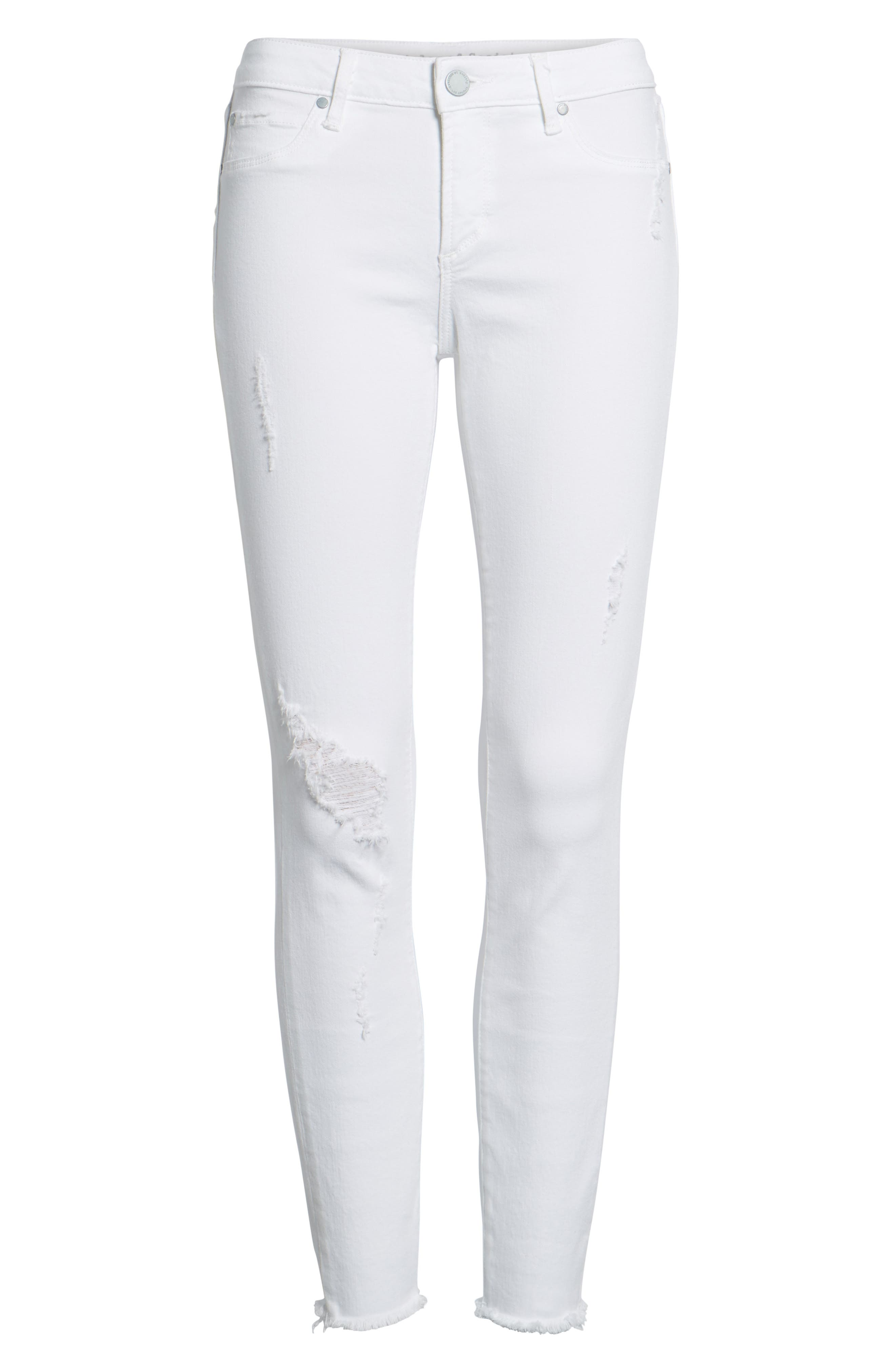 Carly Distressed Ankle Skinny Jeans,                             Alternate thumbnail 7, color,                             Cannes