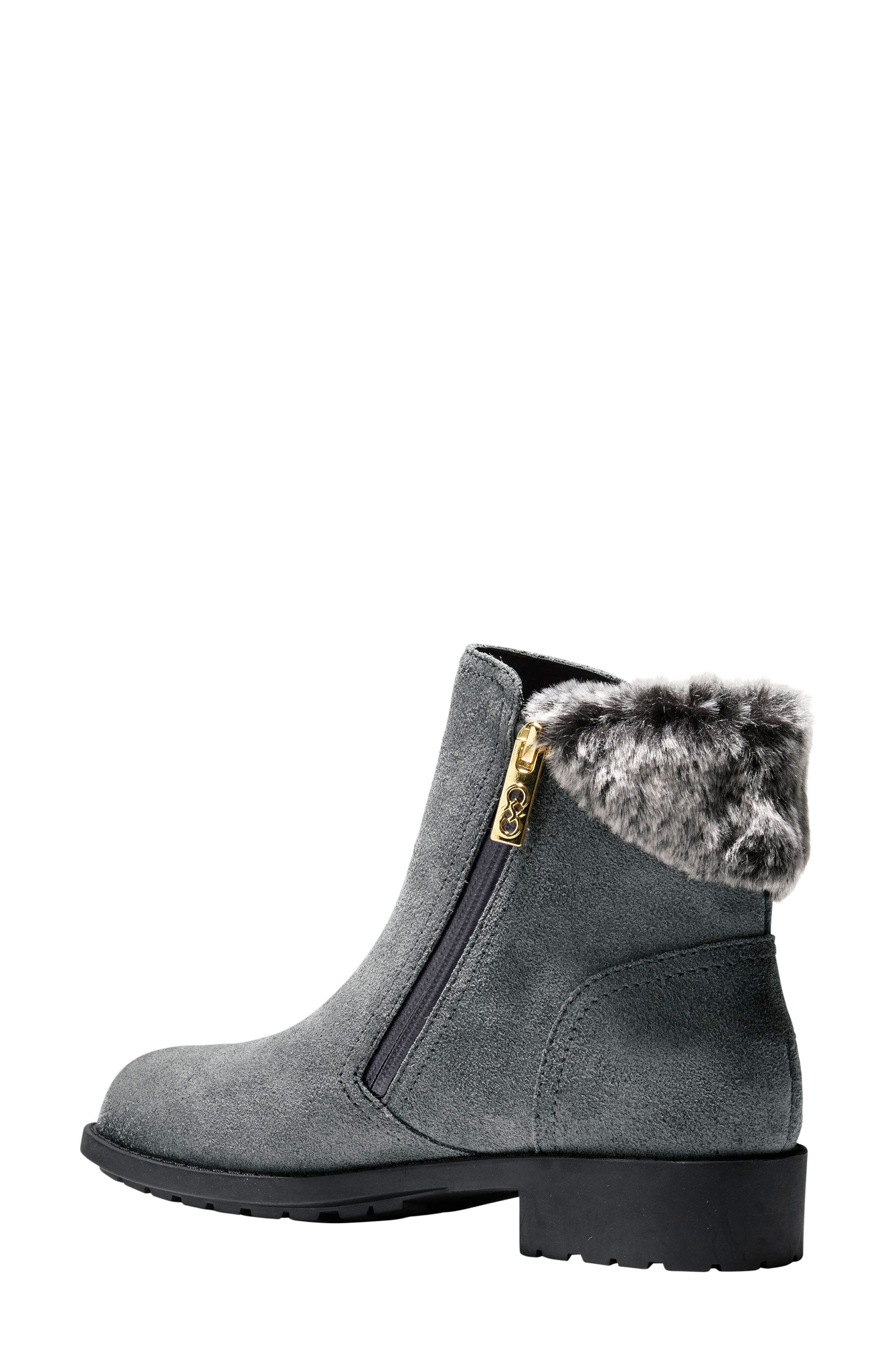 Quinney Waterproof Bootie with Faux Shearling Trim,                             Alternate thumbnail 2, color,                             Castlerock Waterproof Suede