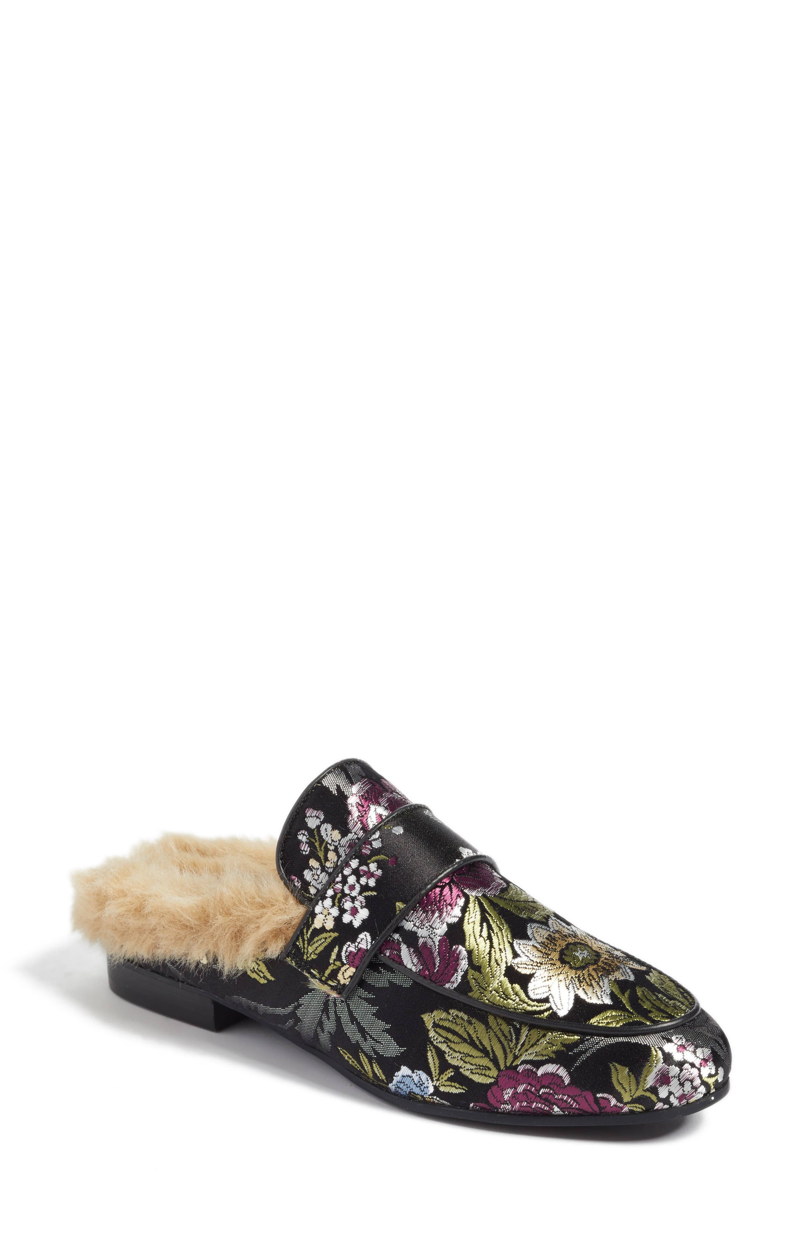 Kaden Mule,                         Main,                         color, Black Floral Fabric