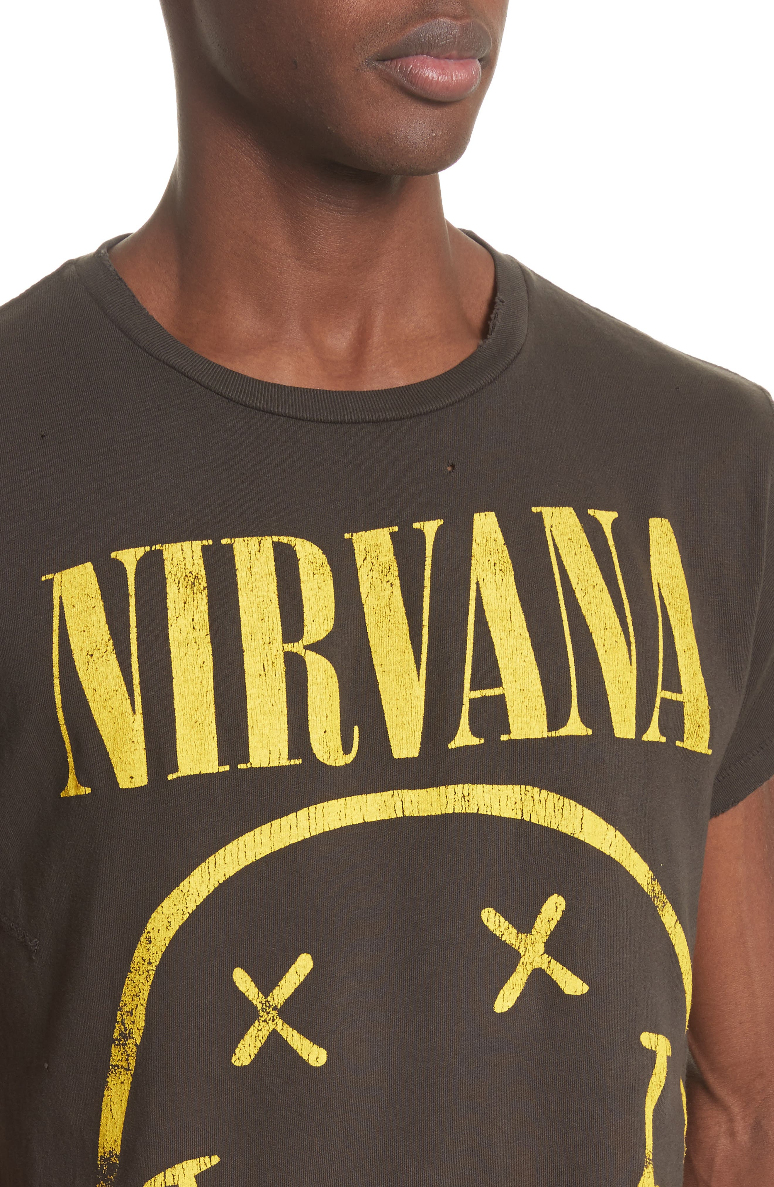 Nirvana Graphic T-Shirt,                             Alternate thumbnail 4, color,                             Dirty Black