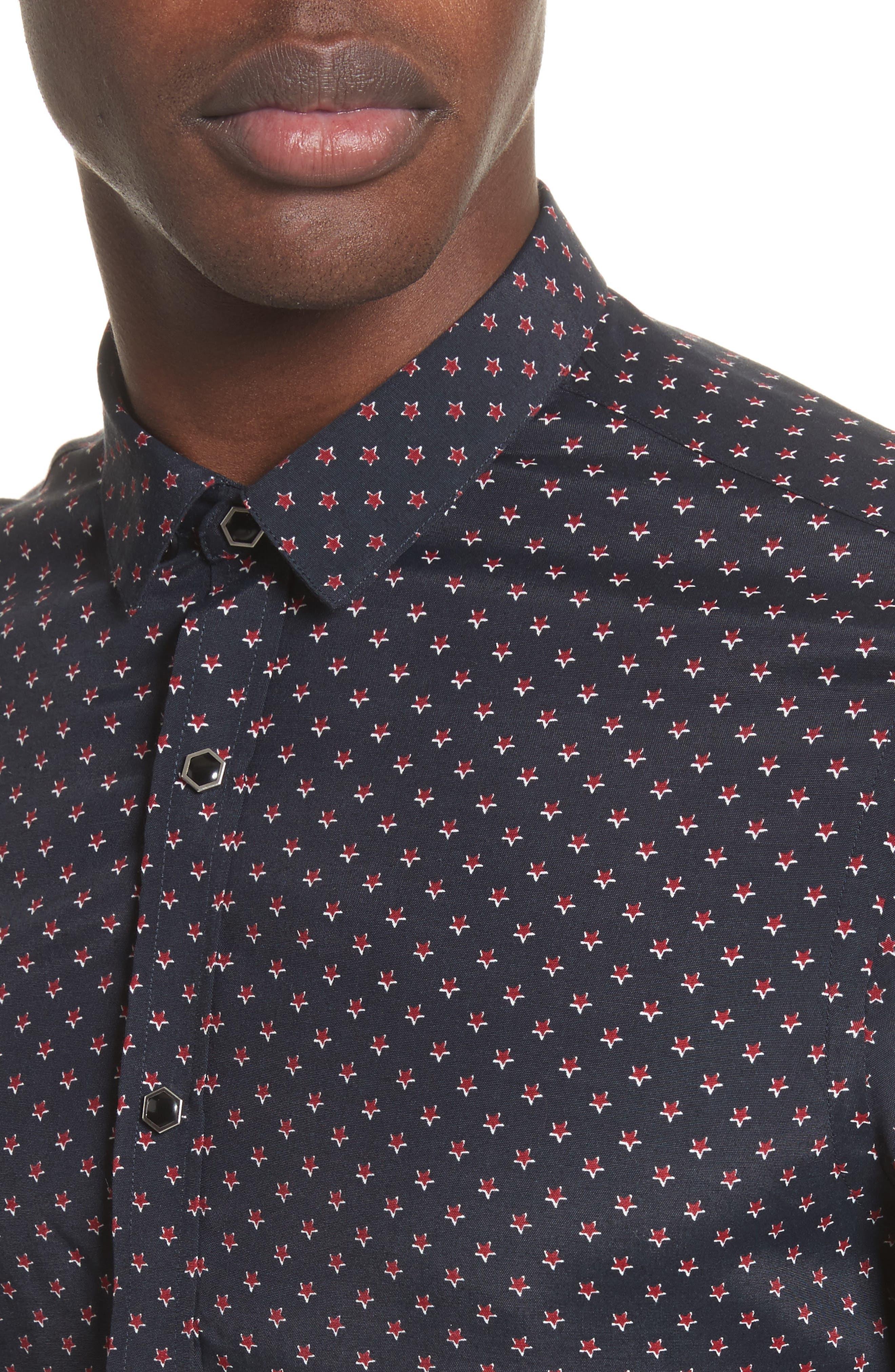 Star Print Shirt,                             Alternate thumbnail 2, color,                             Navy