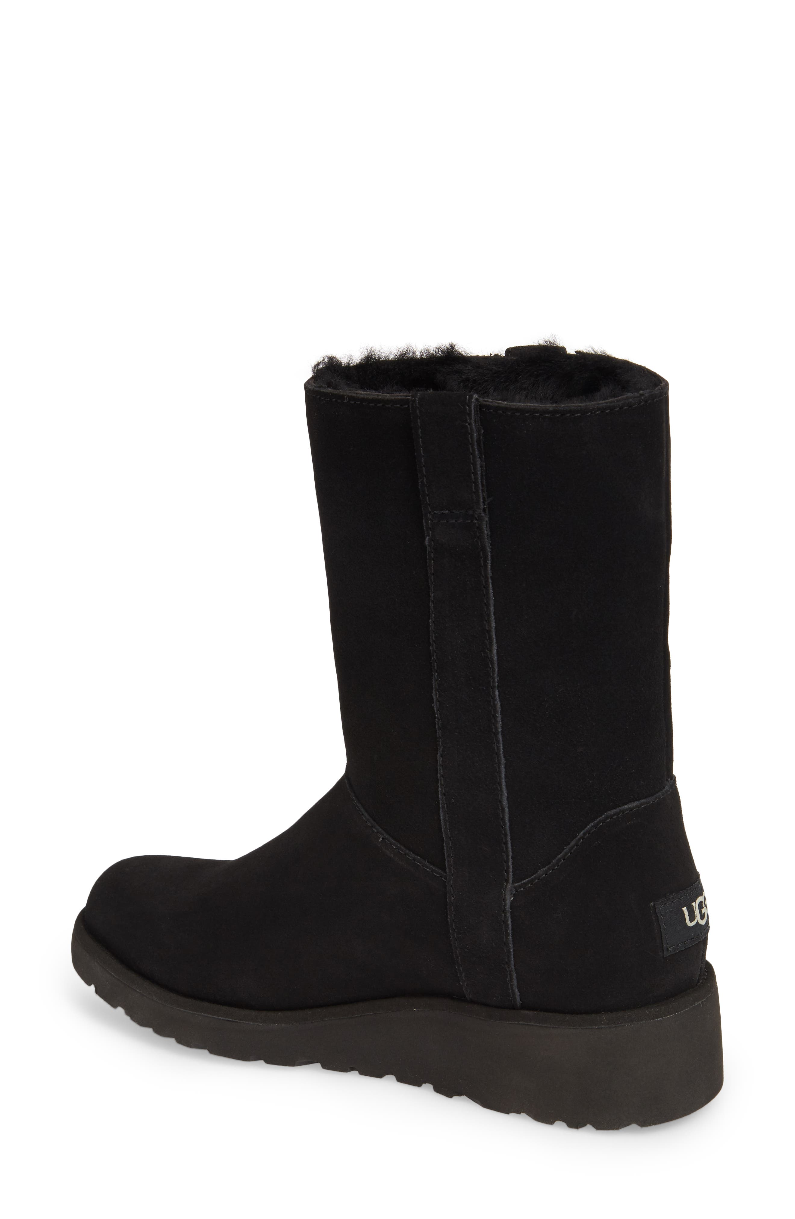 Madison Grommet Wedge Boot,                             Alternate thumbnail 2, color,                             Black Suede