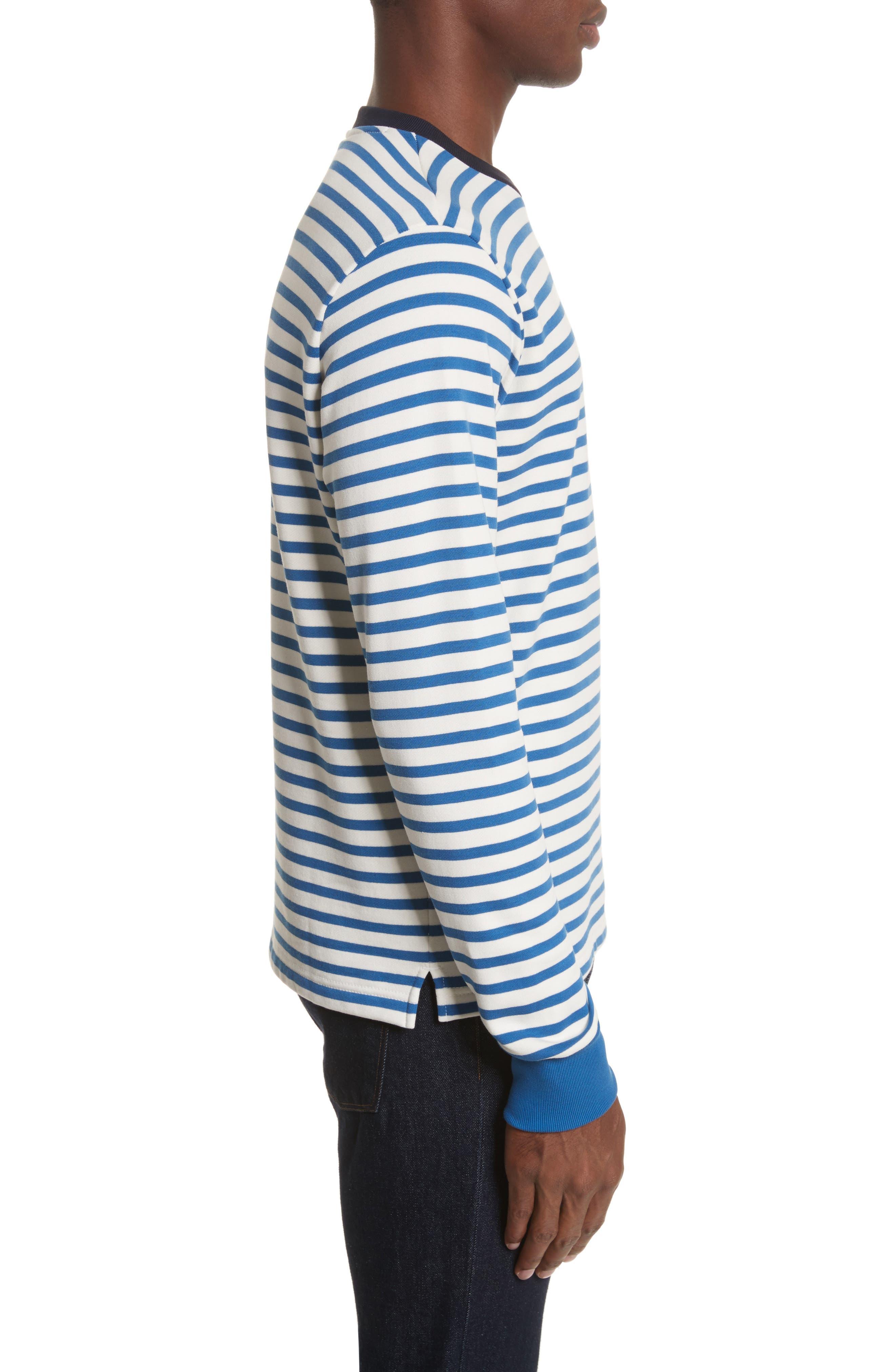 Stripe Crewneck Sweatshirt,                             Alternate thumbnail 3, color,                             Indigo