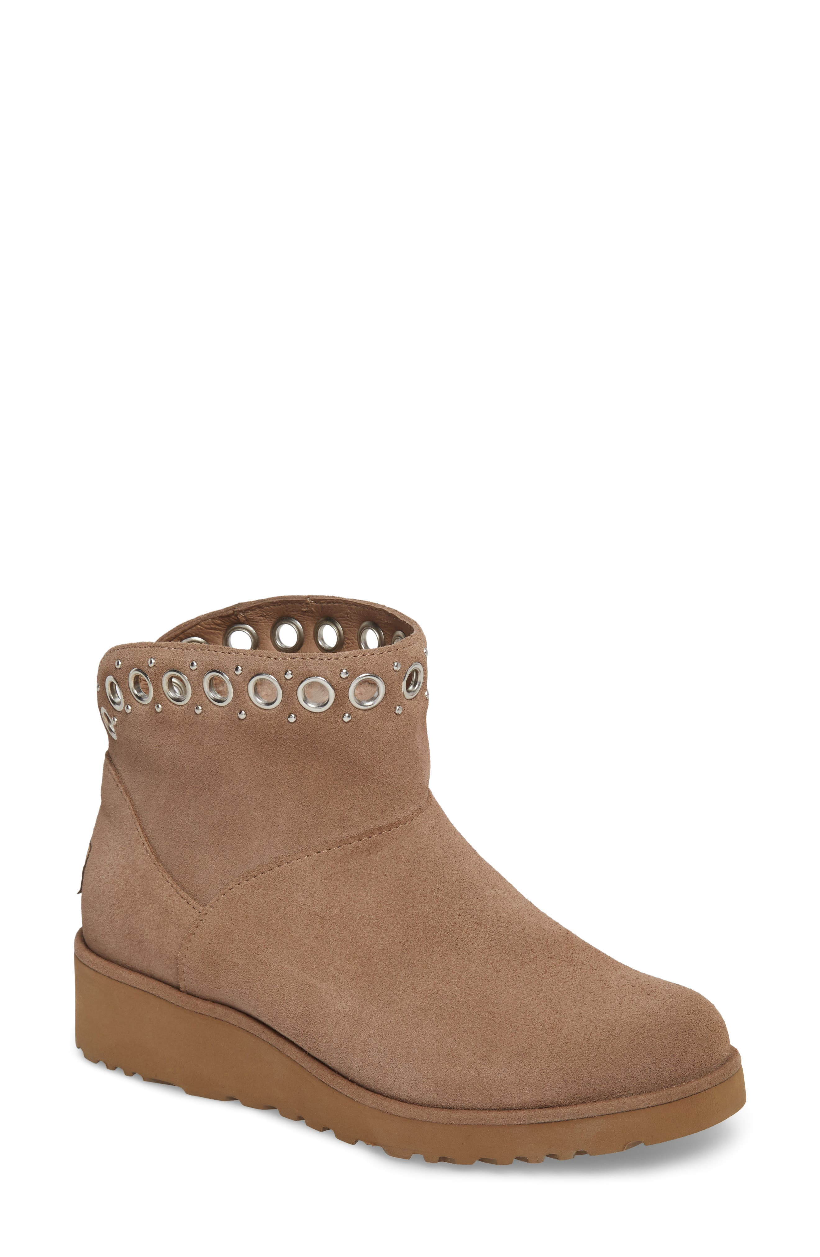 Riley Grommet Wedge Boot,                             Main thumbnail 1, color,                             Fawn Suede