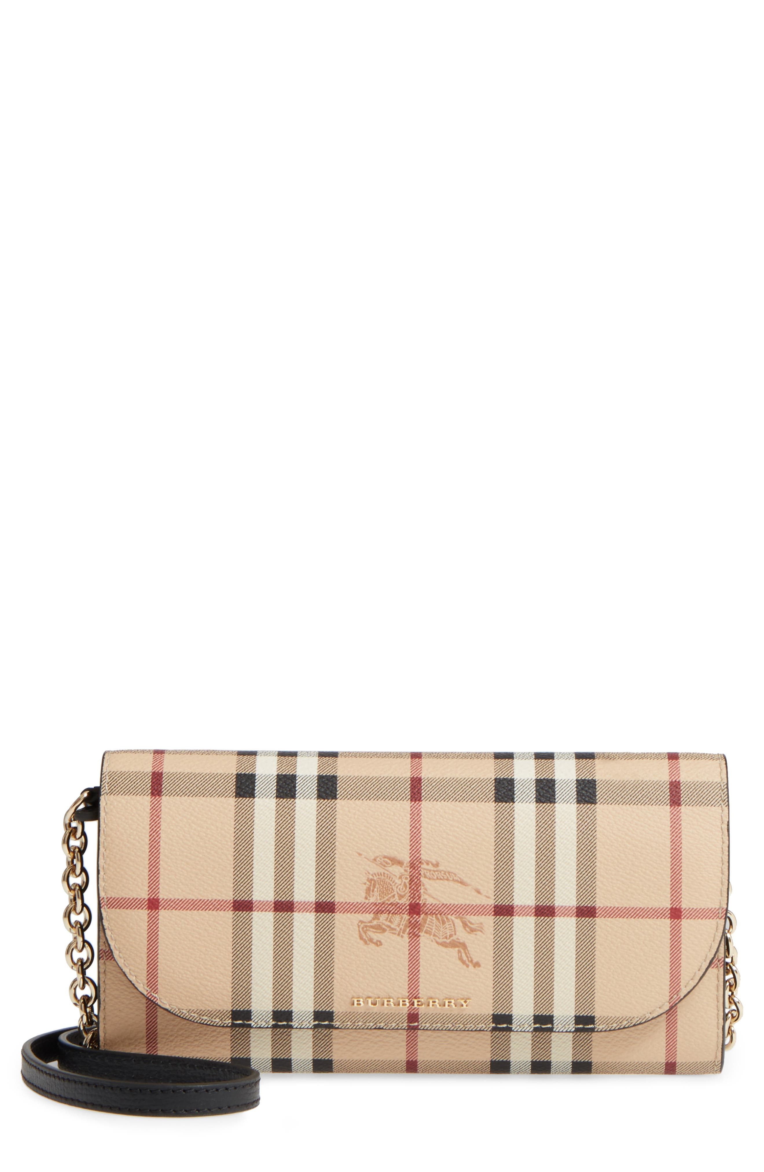 Burberry Henley Haymarket Check Wallet on a Chain