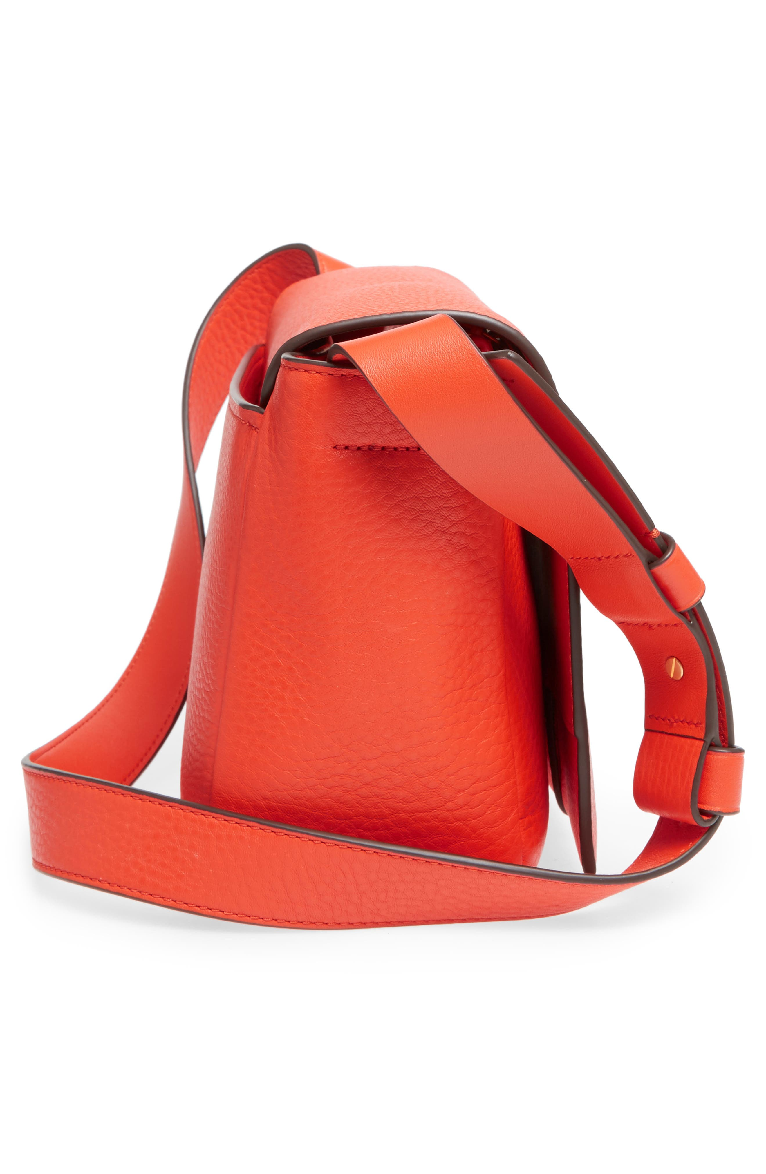 Block-T Pebbled Leather Shoulder Bag,                             Alternate thumbnail 5, color,                             Spicy Orange