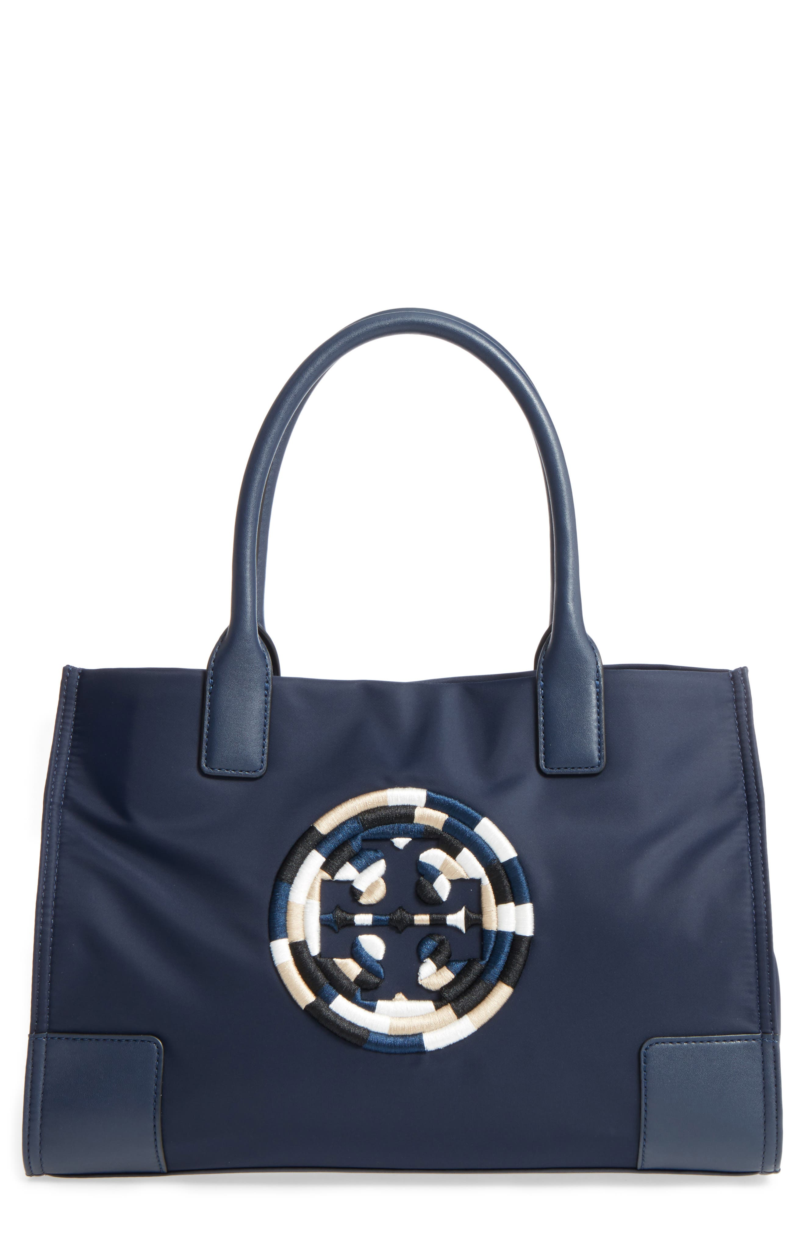 Tory Burch Mini Ella Embroidered Logo Nylon Tote Blue In French Navy