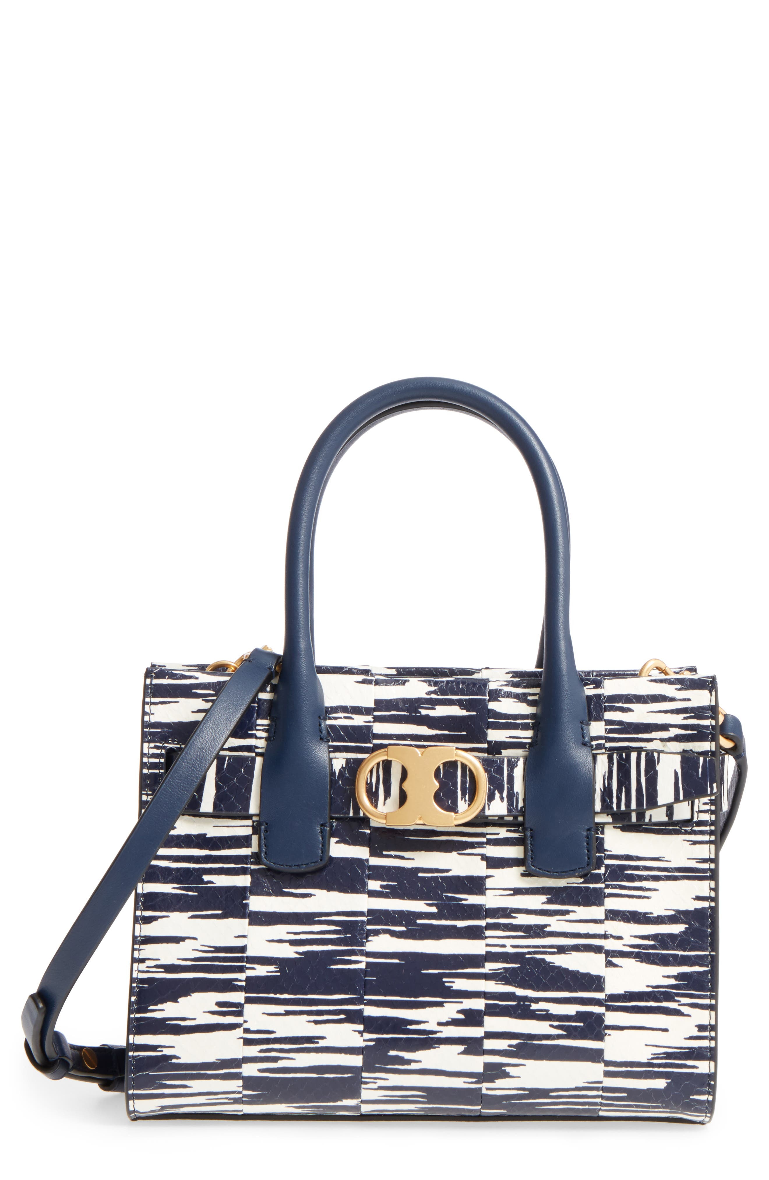 Small Gemini Link Space Dye Genuine Snakeskin Tote,                             Main thumbnail 1, color,                             Navy Space Dye