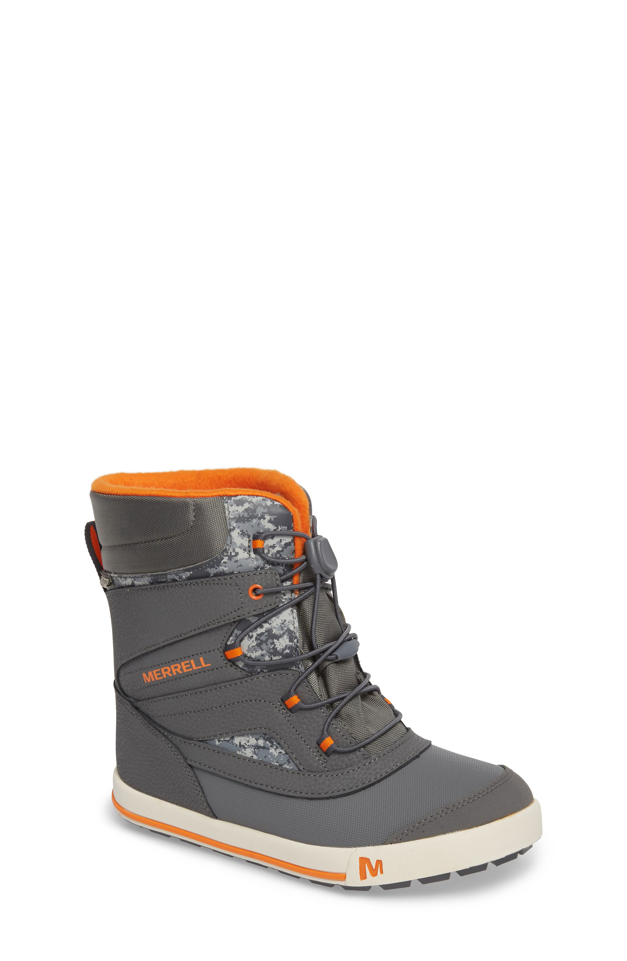 Snow Bank 2 Insulated Waterproof Boot,                             Main thumbnail 1, color,                             Grey/ Orange