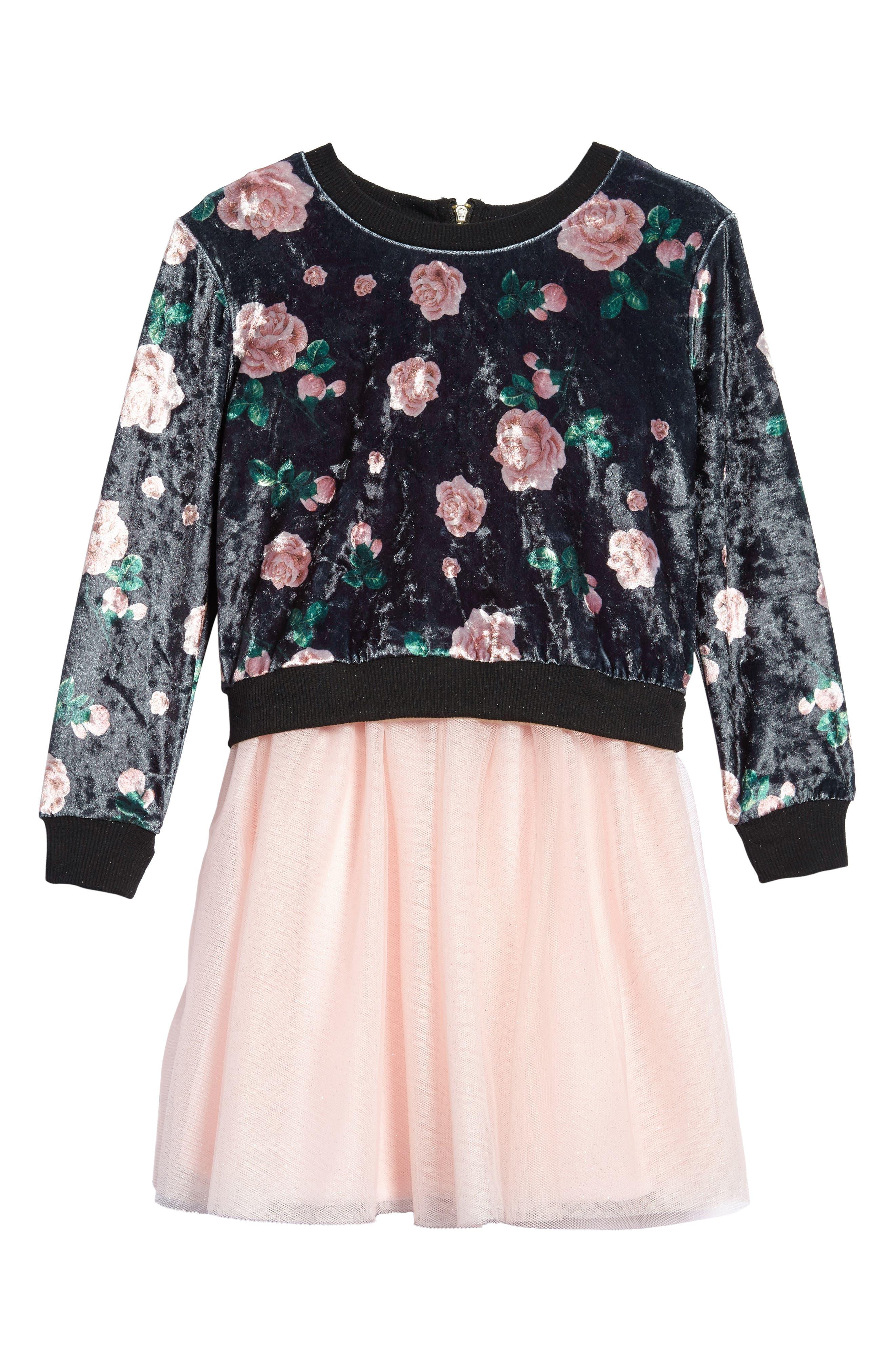 Tutu Dress & Sweater Set,                         Main,                         color, Black Multi