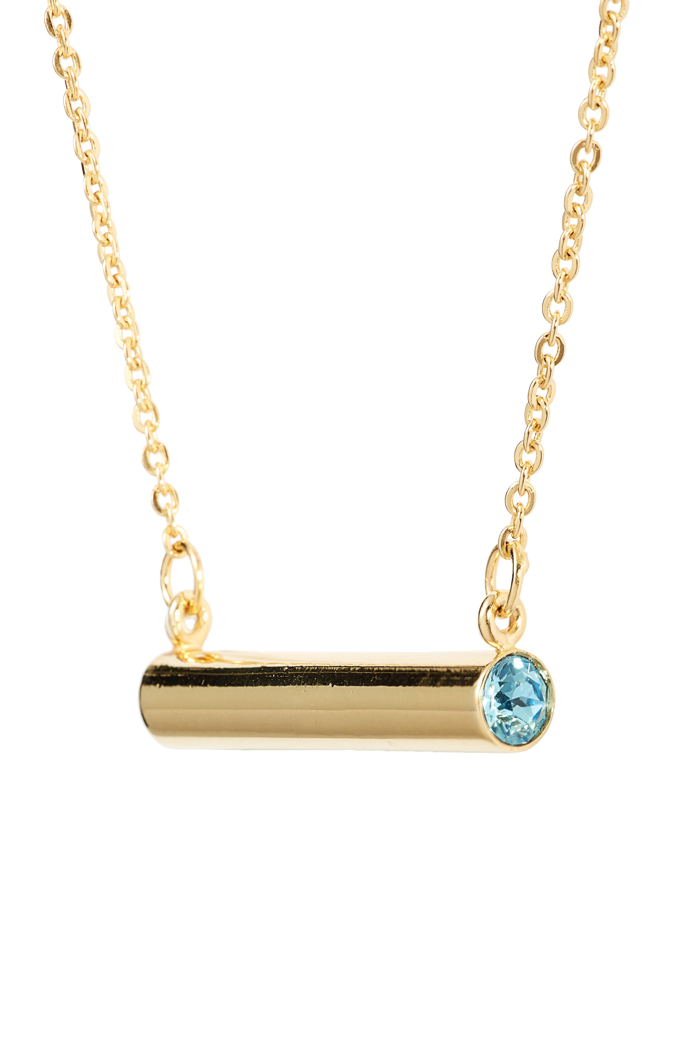 March Crystal Bar Pendant Necklace,                             Alternate thumbnail 3, color,                             Gold
