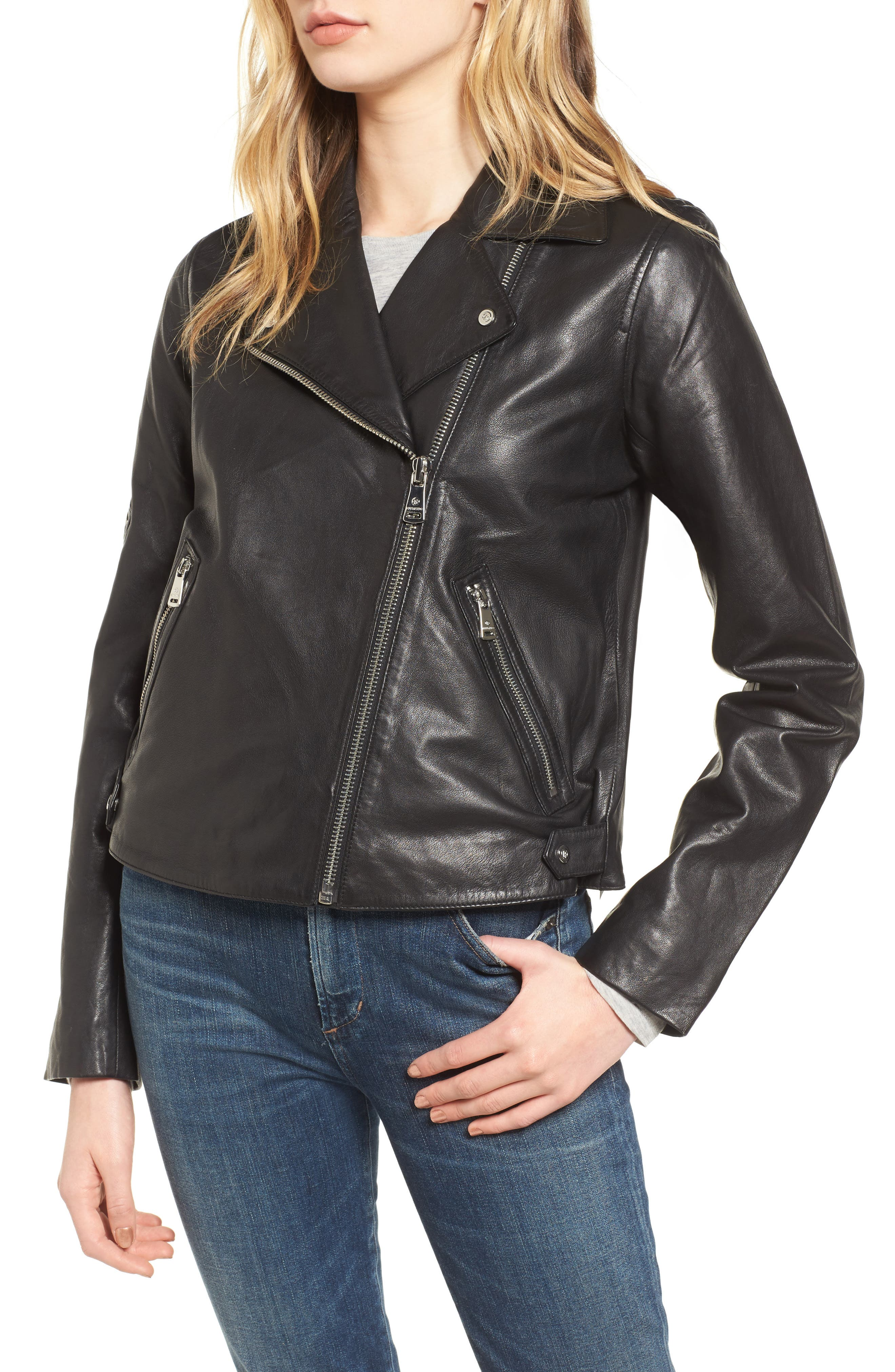 Kirwin Leather Moto Jacket,                             Alternate thumbnail 4, color,                             Black