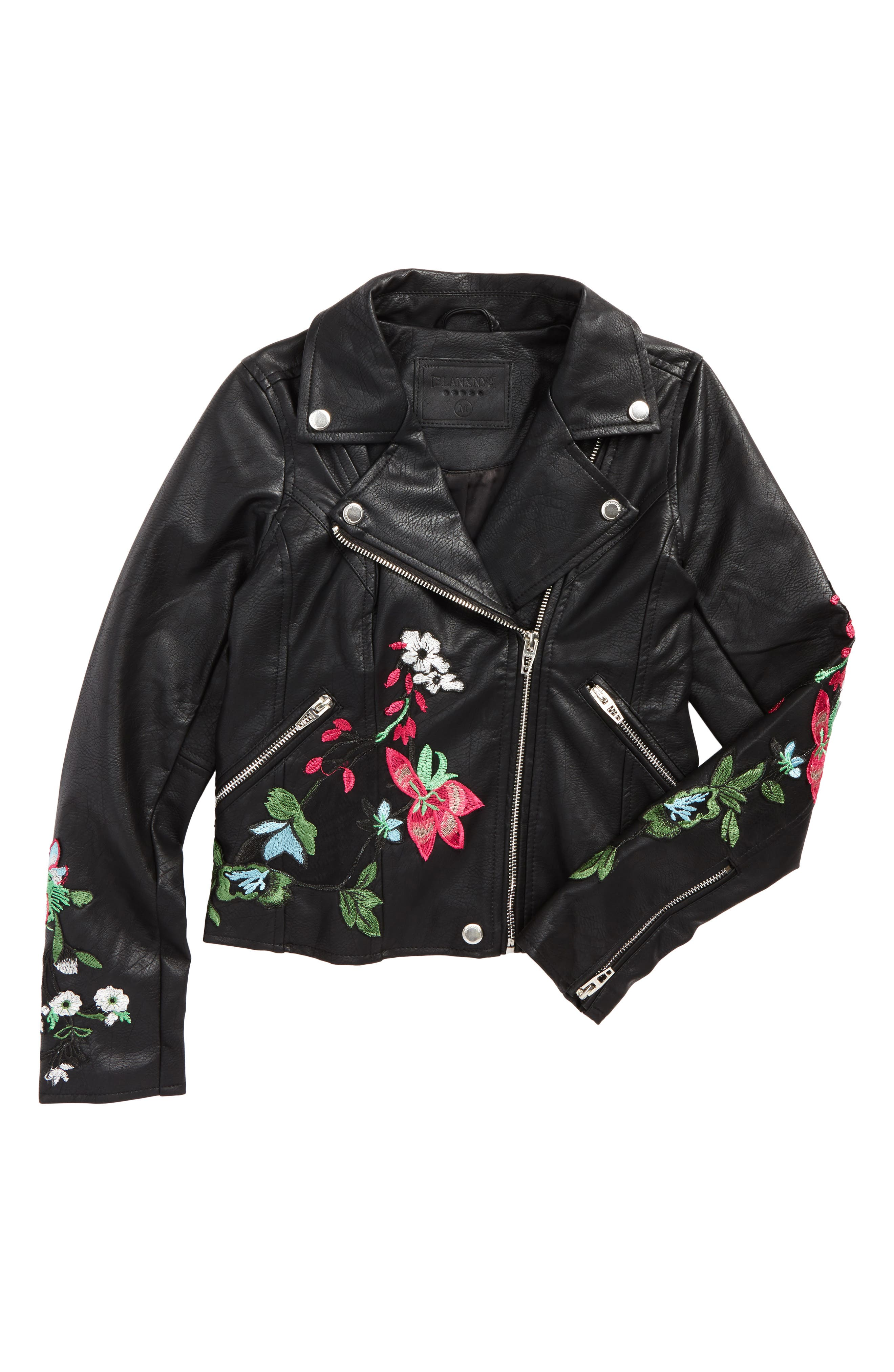 BLANKNYC Embroidered Faux Leather Moto Jacket (Big Girls)