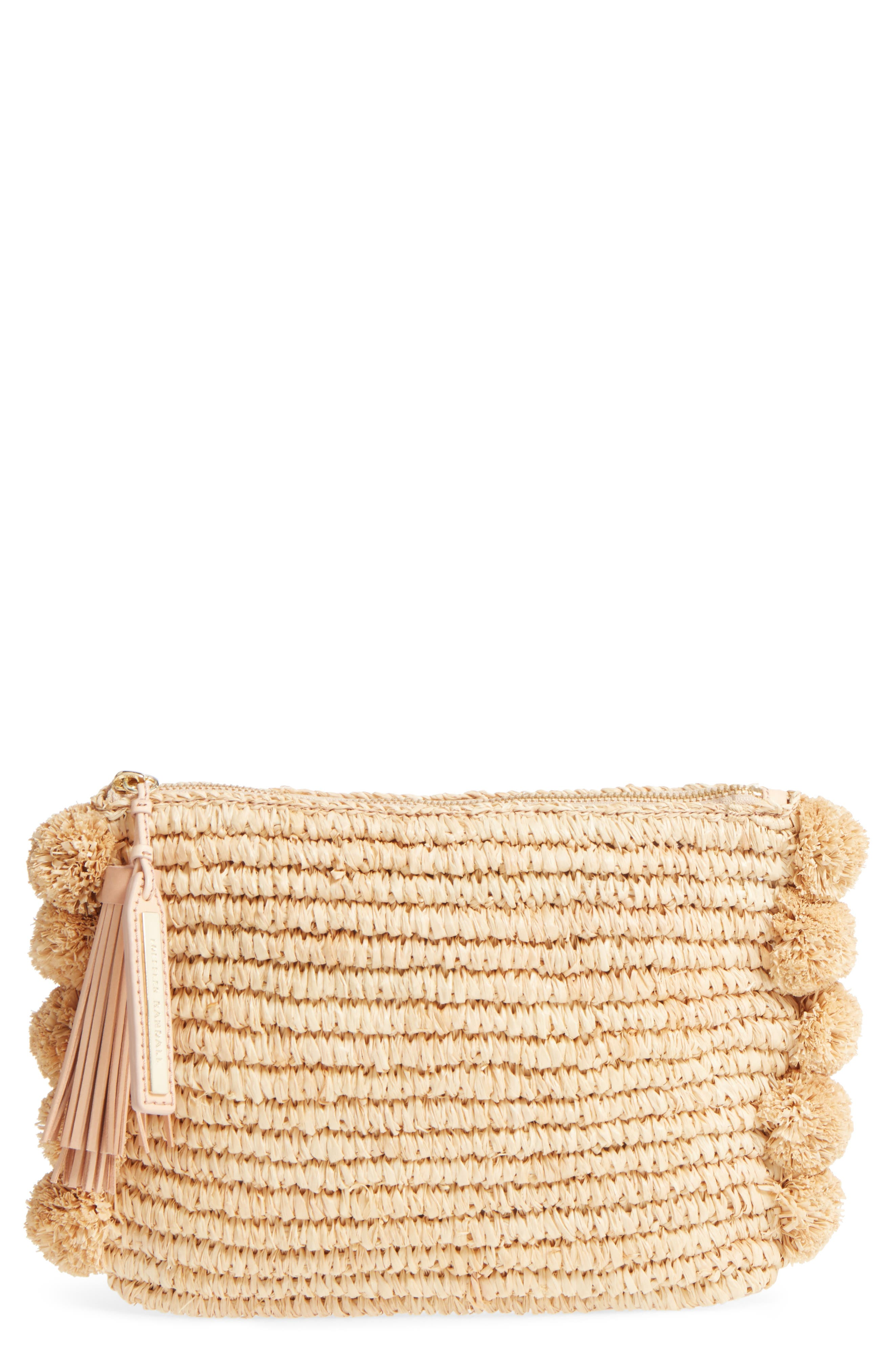 Straw Tassel Pouch,                         Main,                         color, Natural