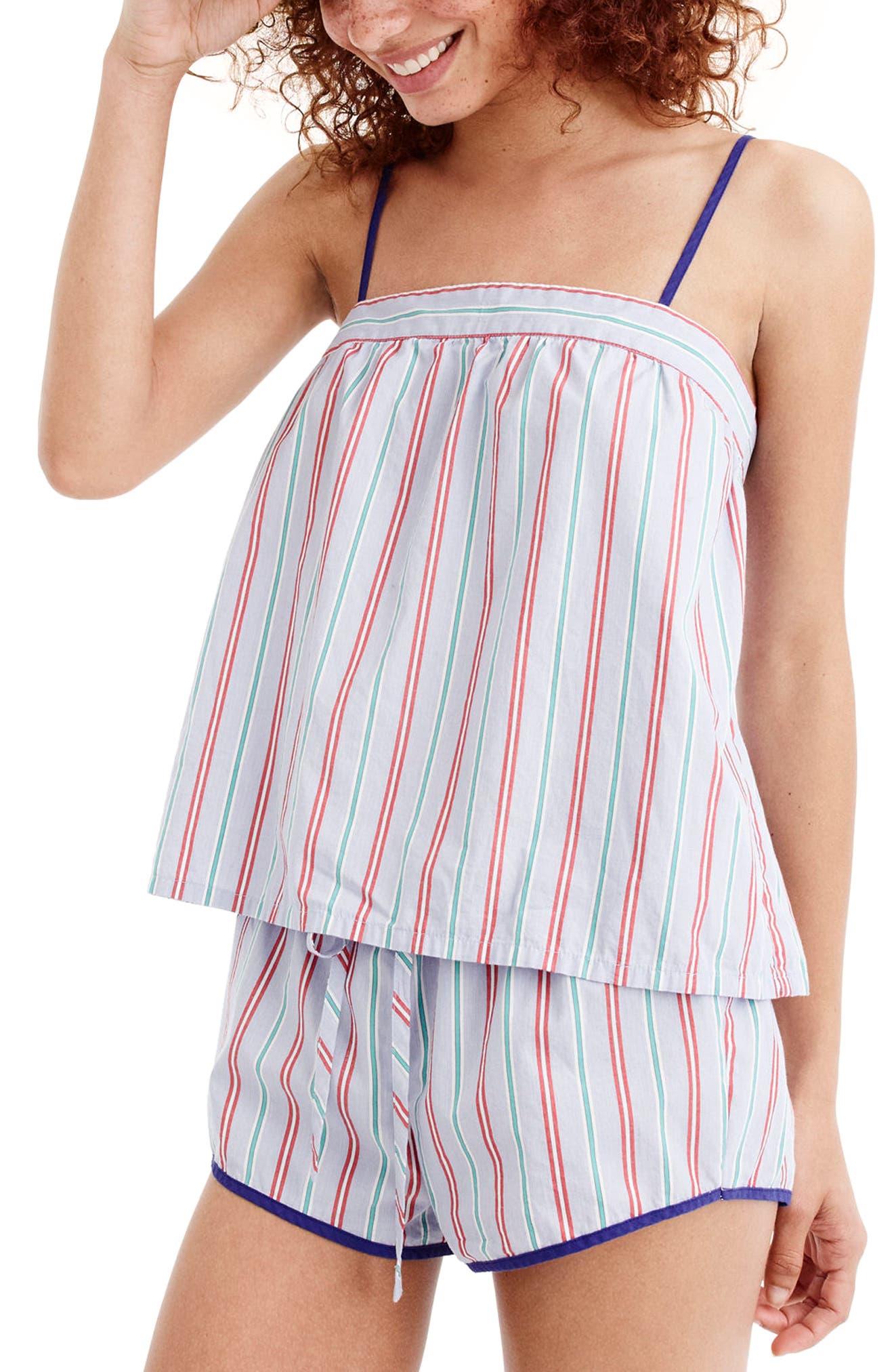 J.Crew Candy Stripe Short Pajamas,                         Main,                         color, Holiday Stripe