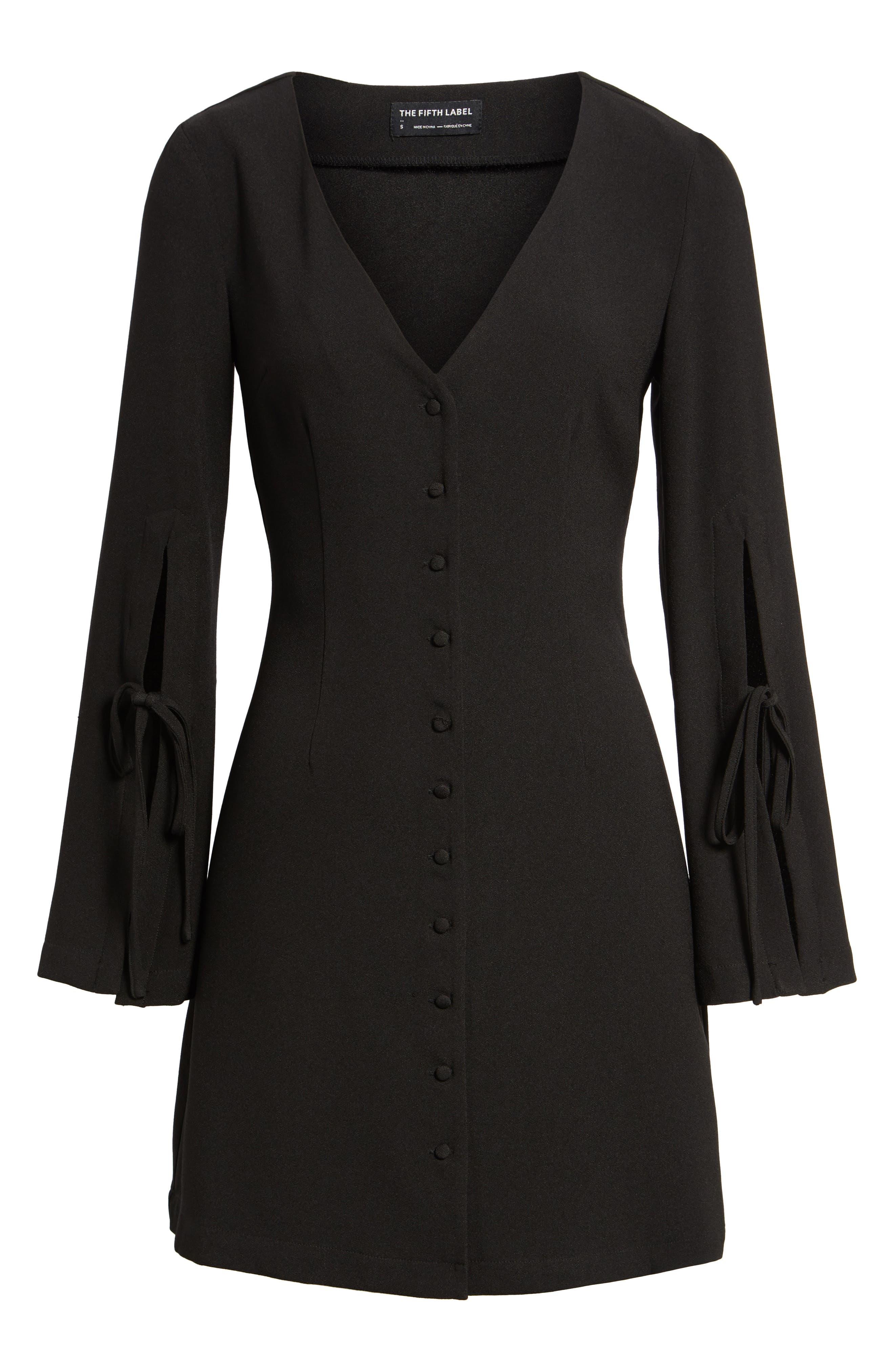 Jeanne Split Sleeve Minidress,                             Alternate thumbnail 6, color,                             Black