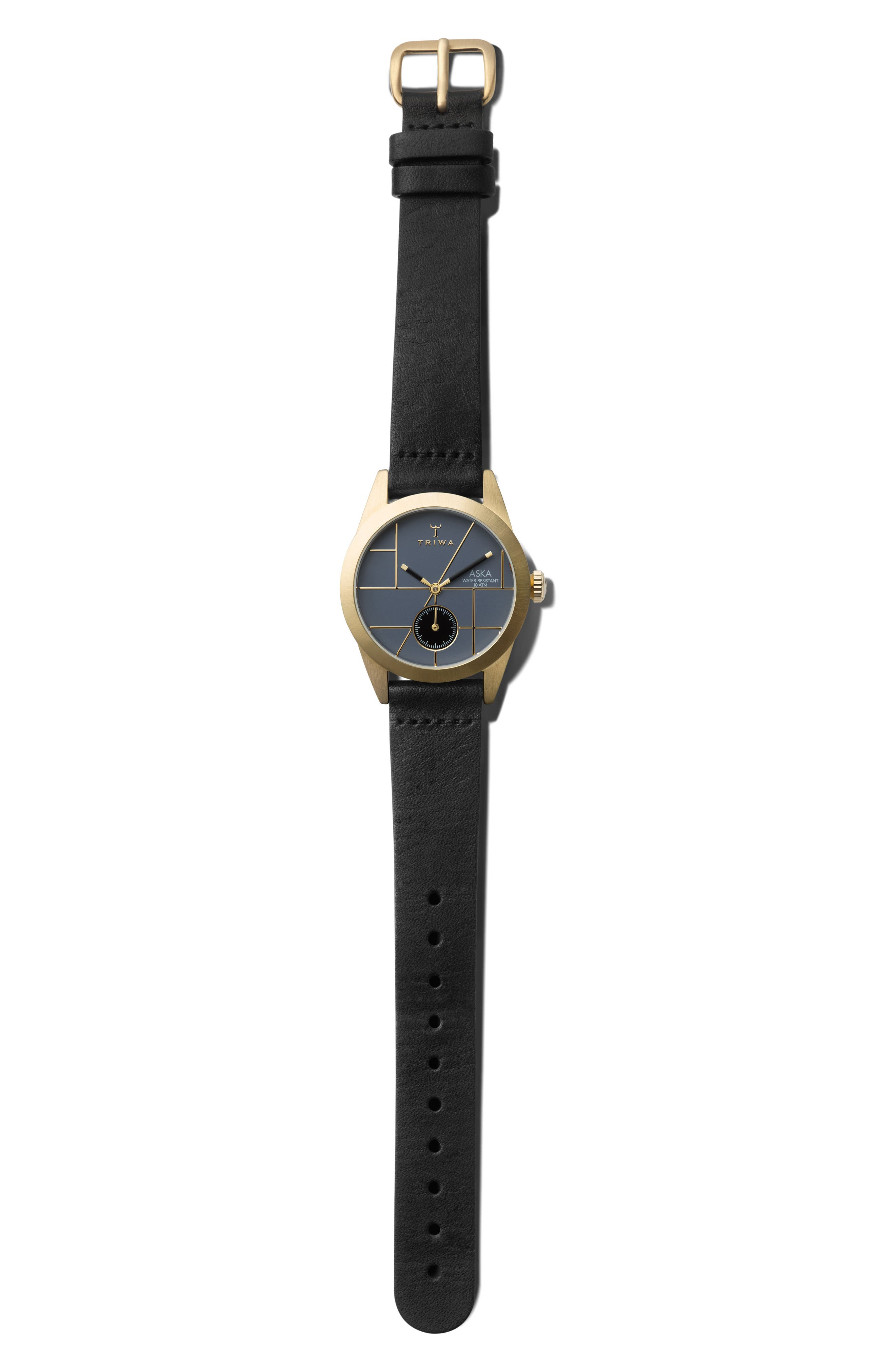 Blues Aska Leather Strap Watch, 32mm,                             Alternate thumbnail 3, color,                             Black/ Blue/ Gold