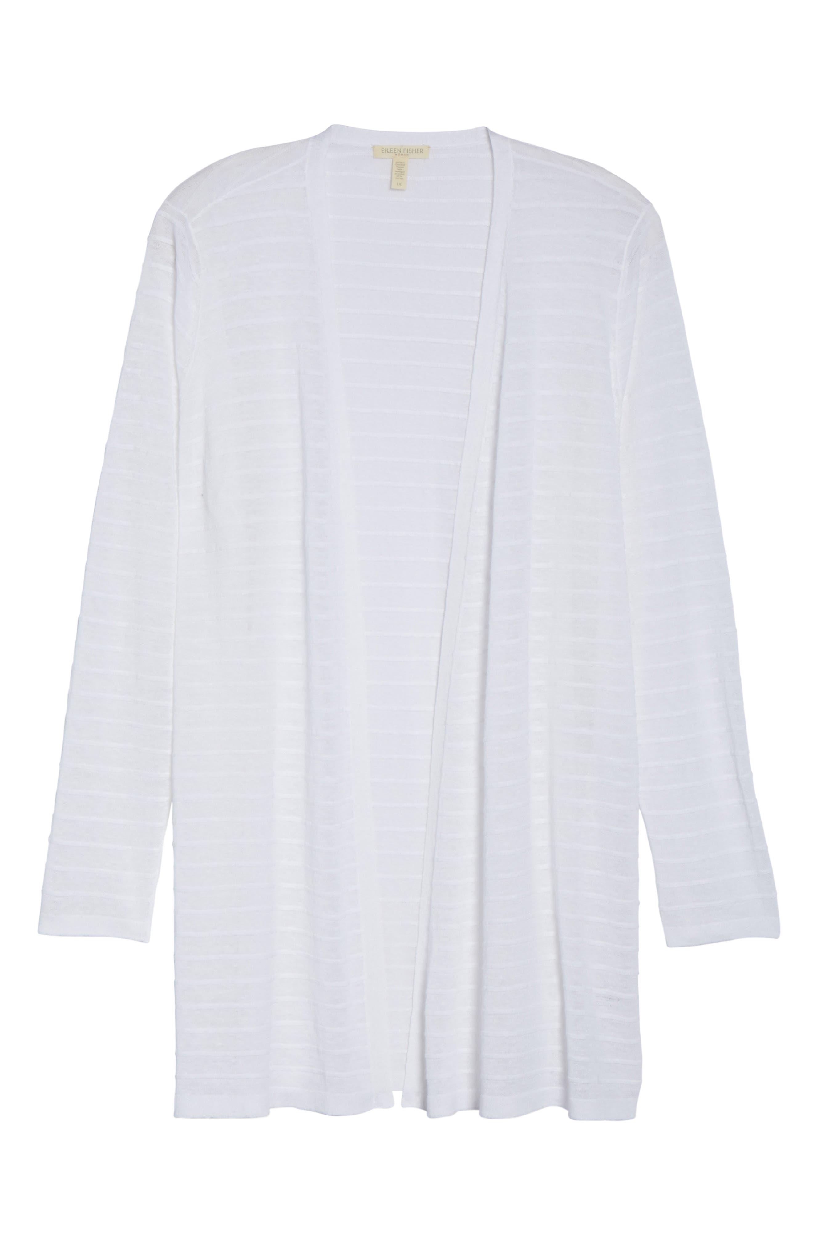 Shadow Stripe Organic Linen Cardigan,                             Alternate thumbnail 6, color,                             White