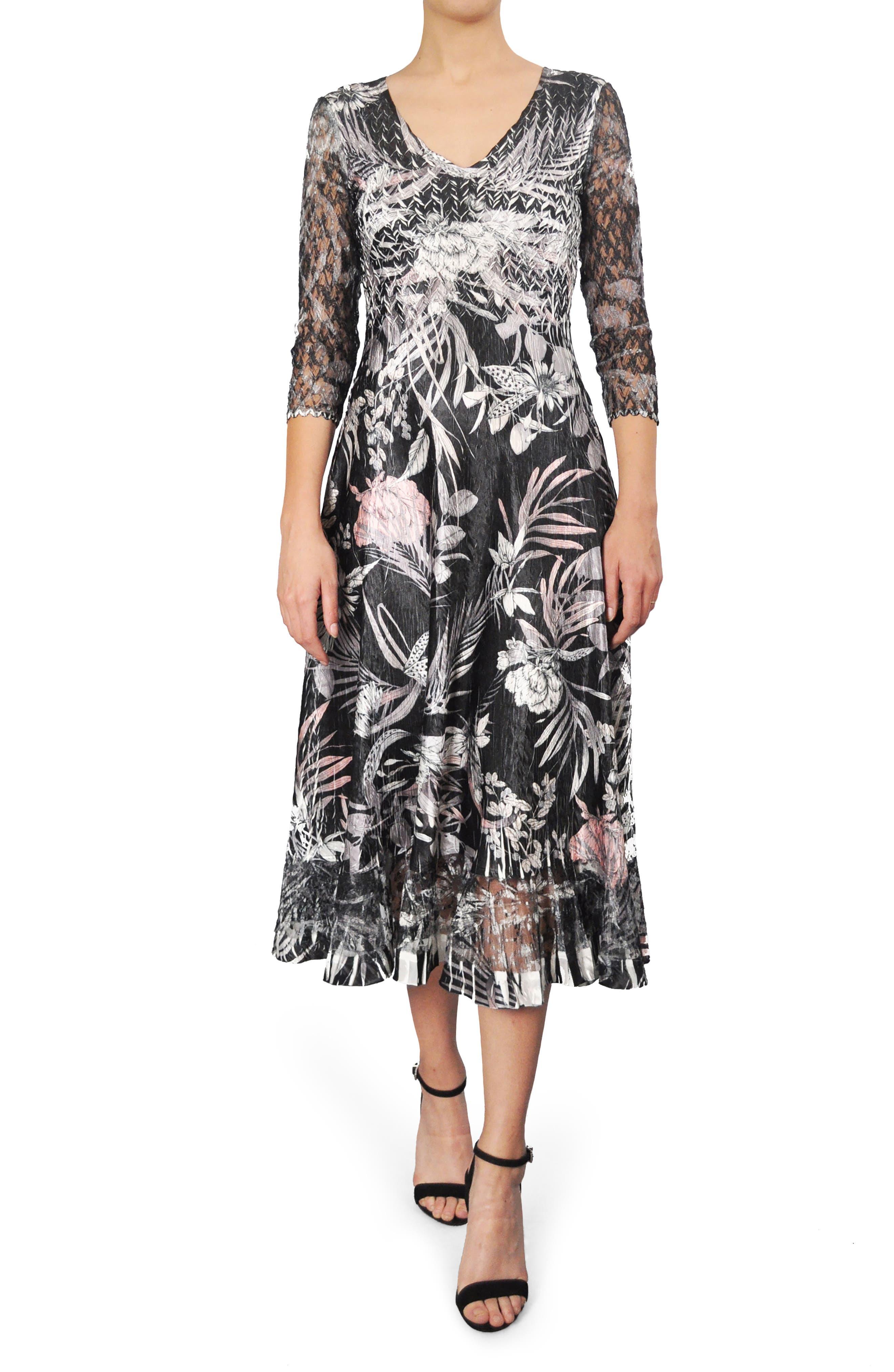 Print Charmeuse A-Line Midi Dress,                             Main thumbnail 1, color,                             Shaded Tropic