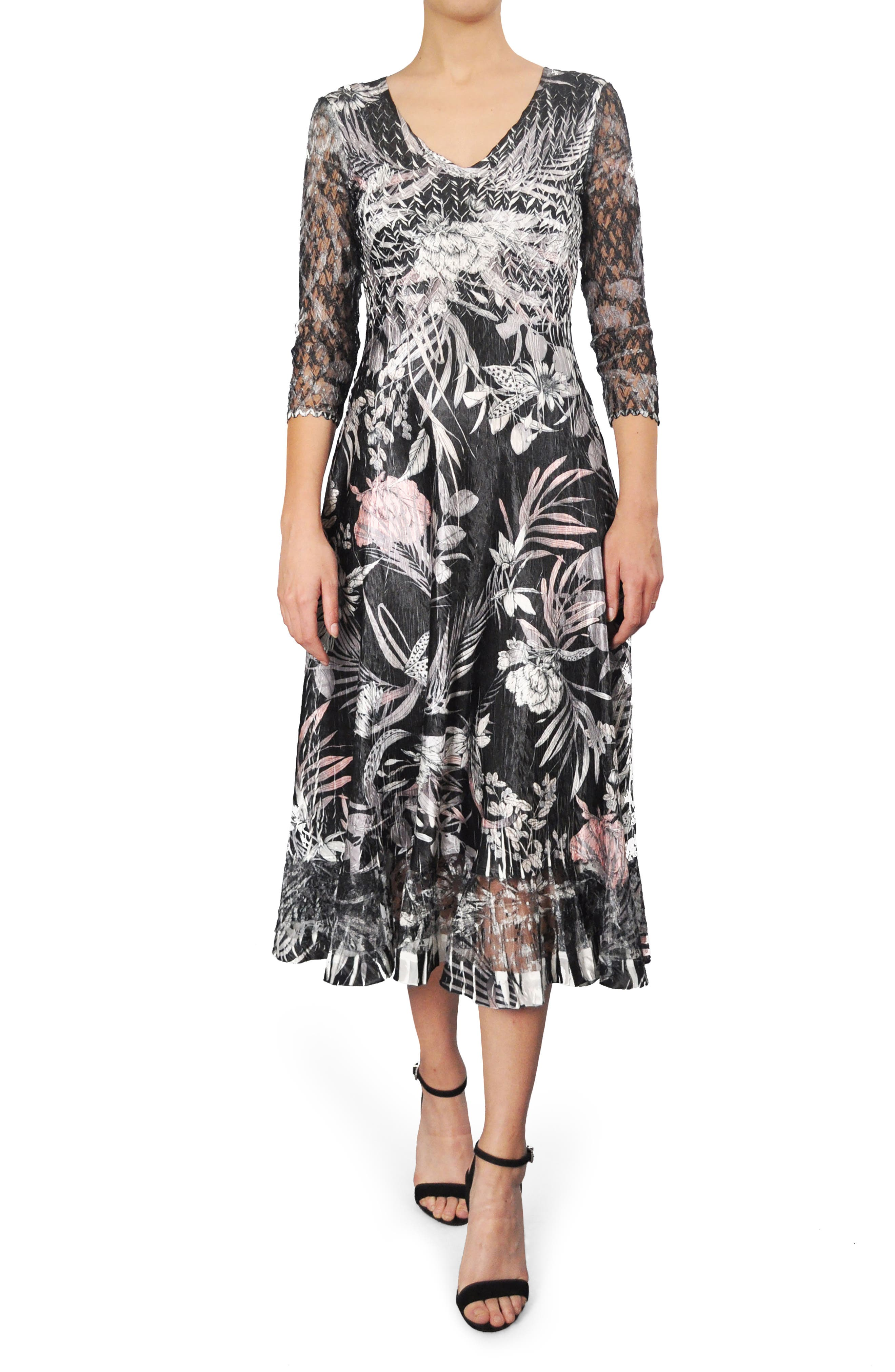 Print Charmeuse A-Line Midi Dress,                         Main,                         color, Shaded Tropic