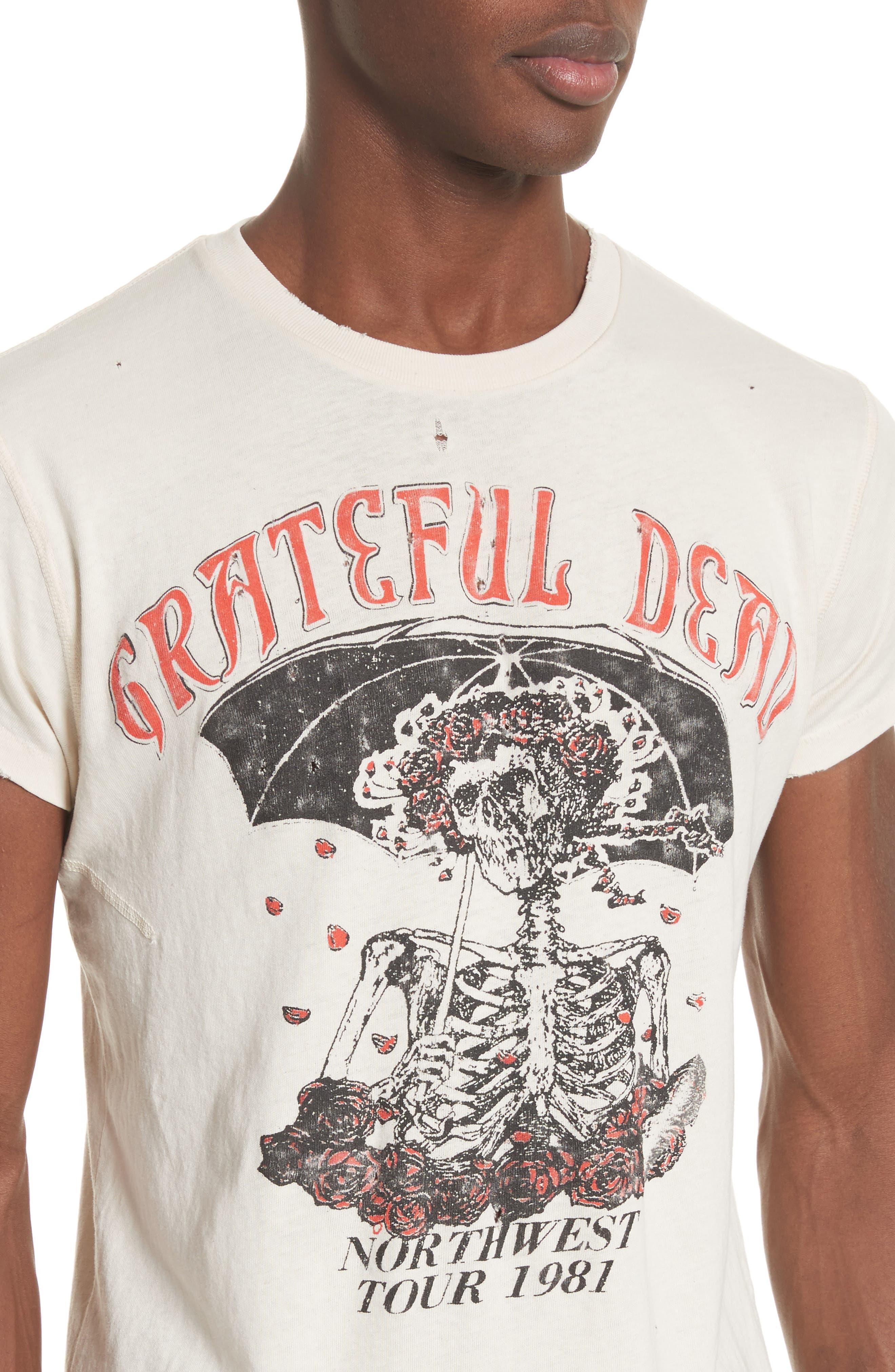 Grateful Dead Skeleton Graphic T-Shirt,                             Alternate thumbnail 4, color,                             Dirty White