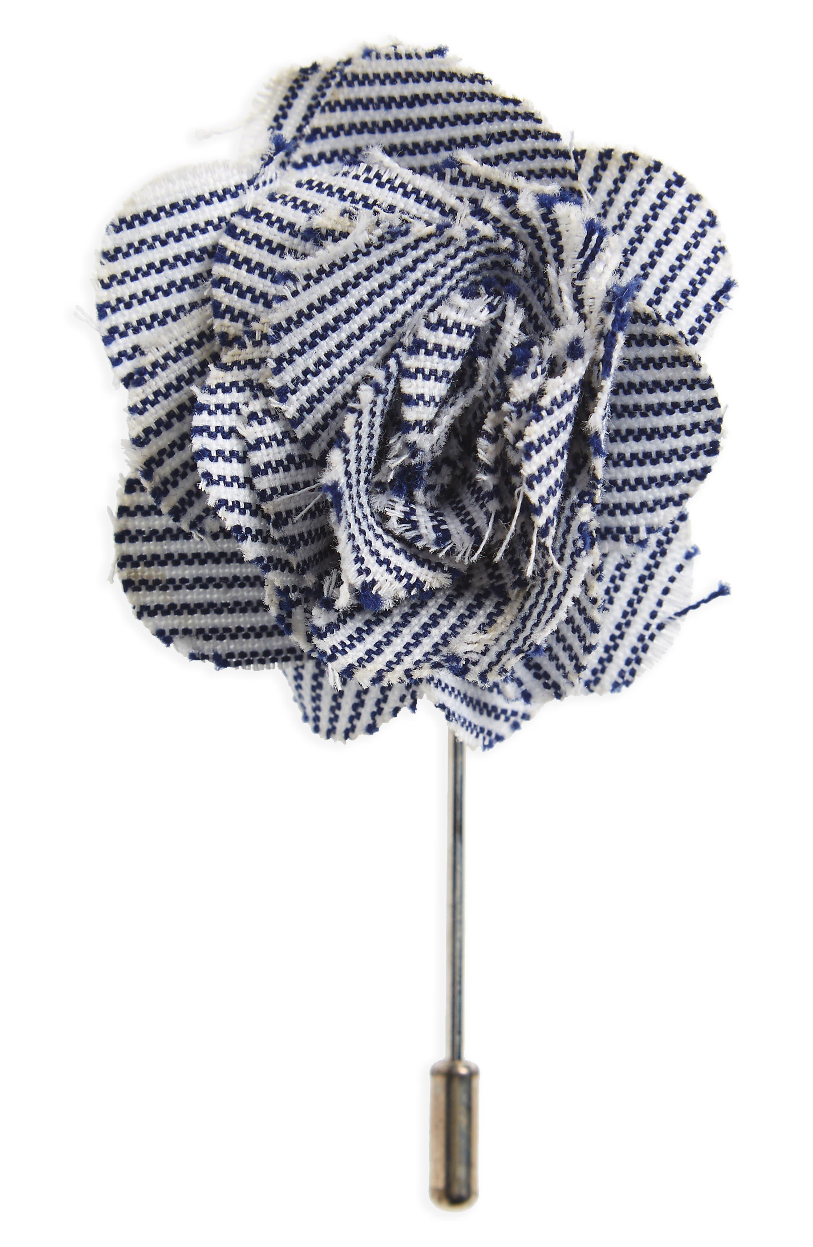 Main Image - The Tie Bar Little Stripe Cotton Lapel Flower