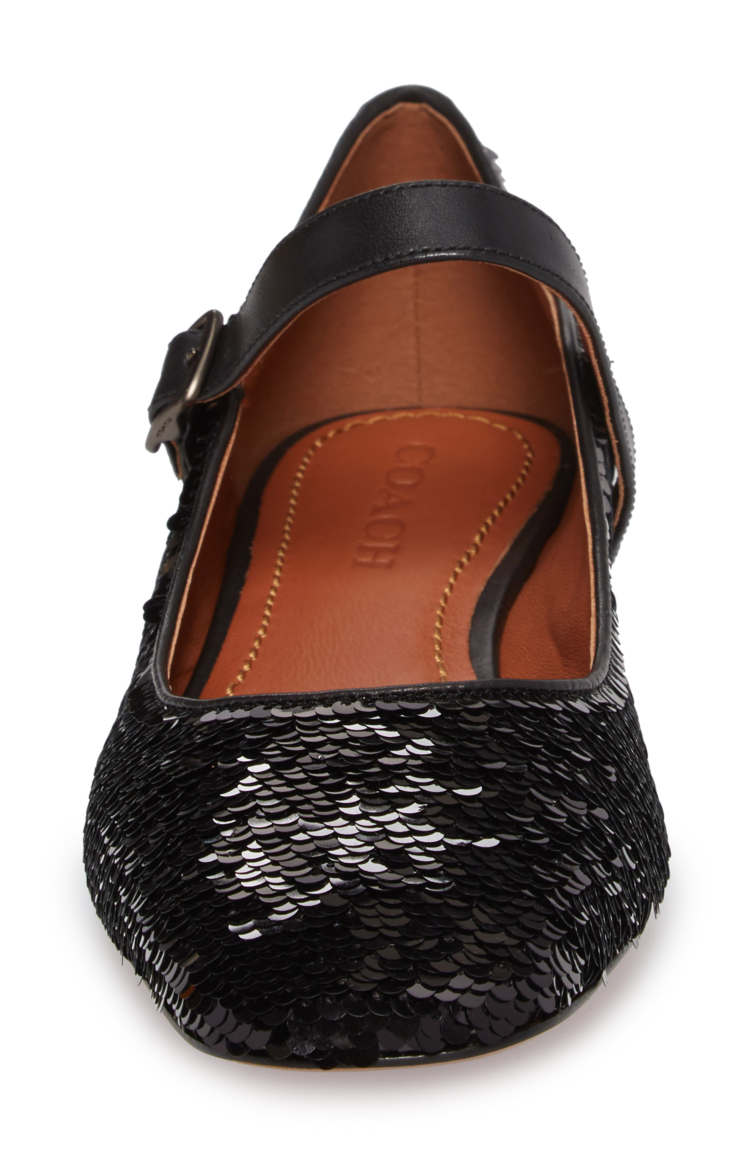 Mary Jane Flat,                             Alternate thumbnail 4, color,                             Black Sequin Fabric