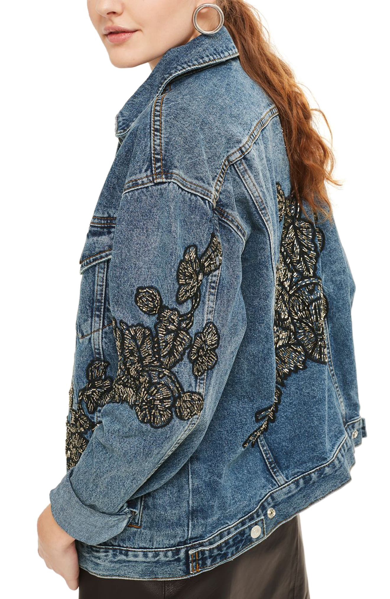 Embellished Denim Jacket,                             Alternate thumbnail 2, color,                             Mid Denim