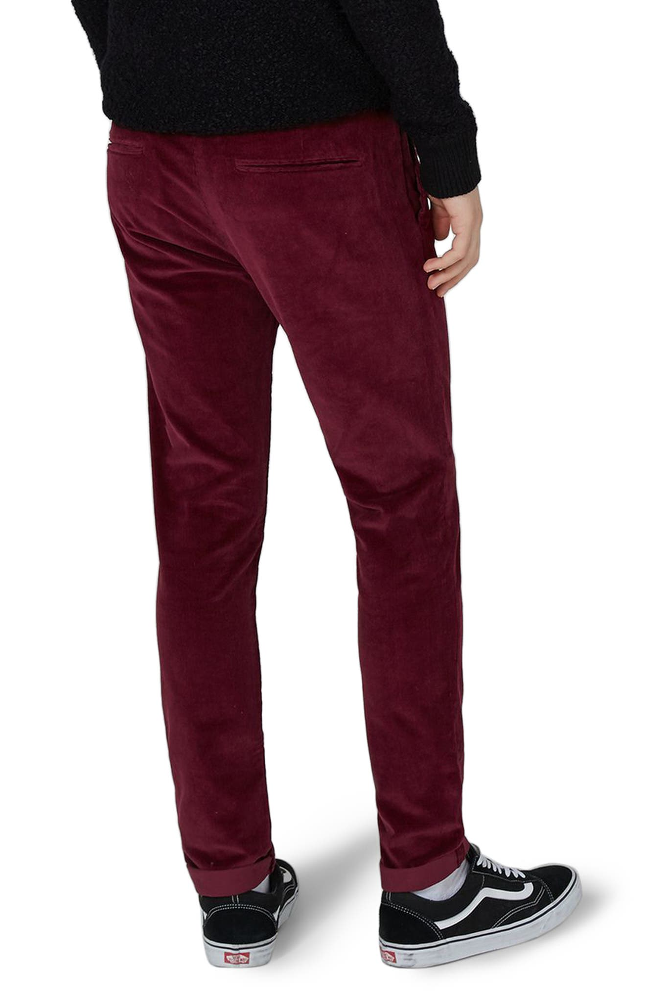 Skinny Fit Corduroy Trousers,                             Alternate thumbnail 2, color,                             Burgundy