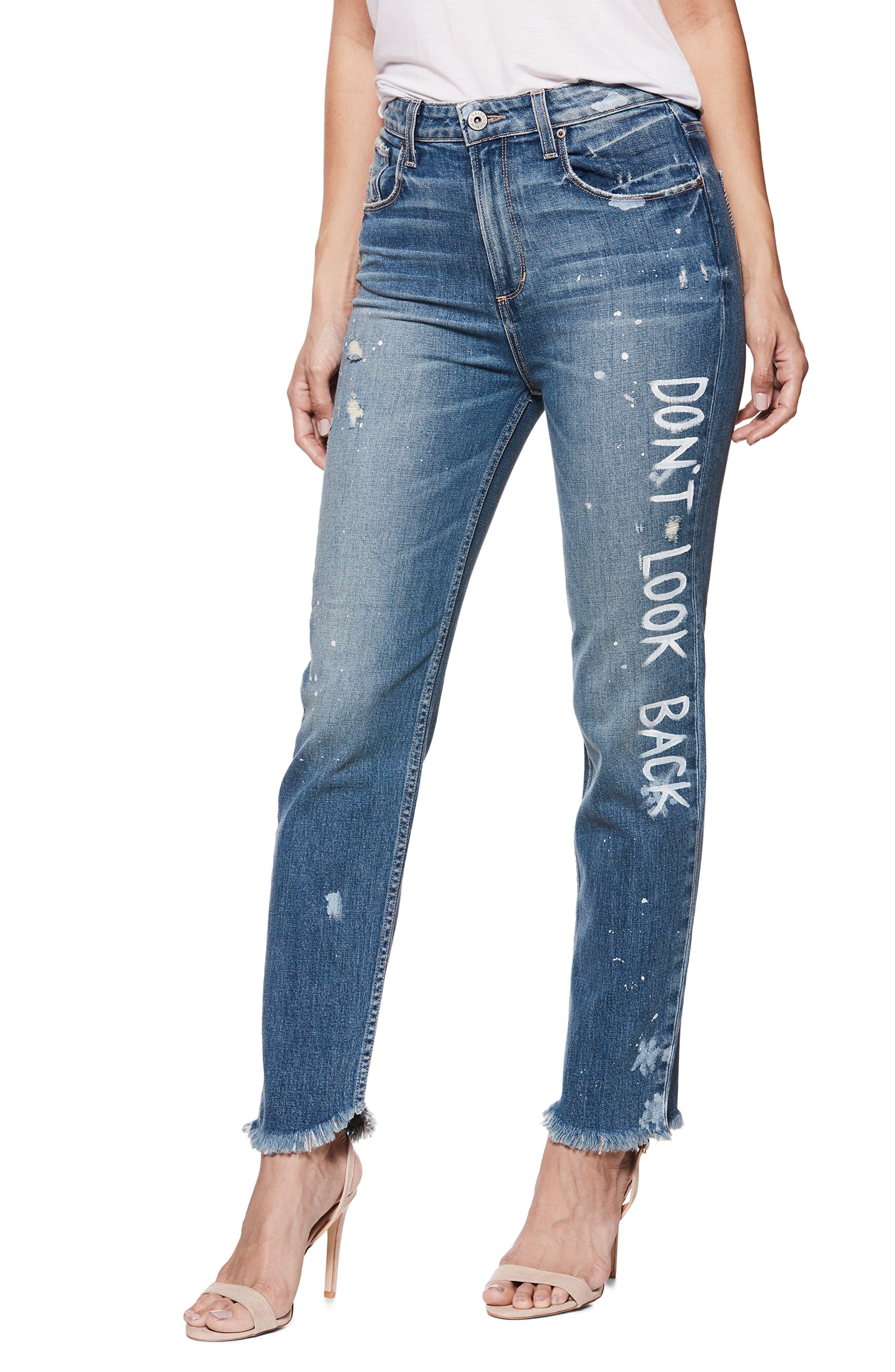 Sarah High Waist Straight Leg Jeans,                             Alternate thumbnail 3, color,                             Blue
